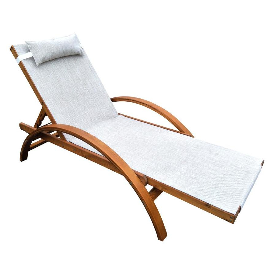 Reclining Sling Chaise Lounges Within 2020 Leisure Season Reclining Sling Lounge Chair At Lowes (View 13 of 25)