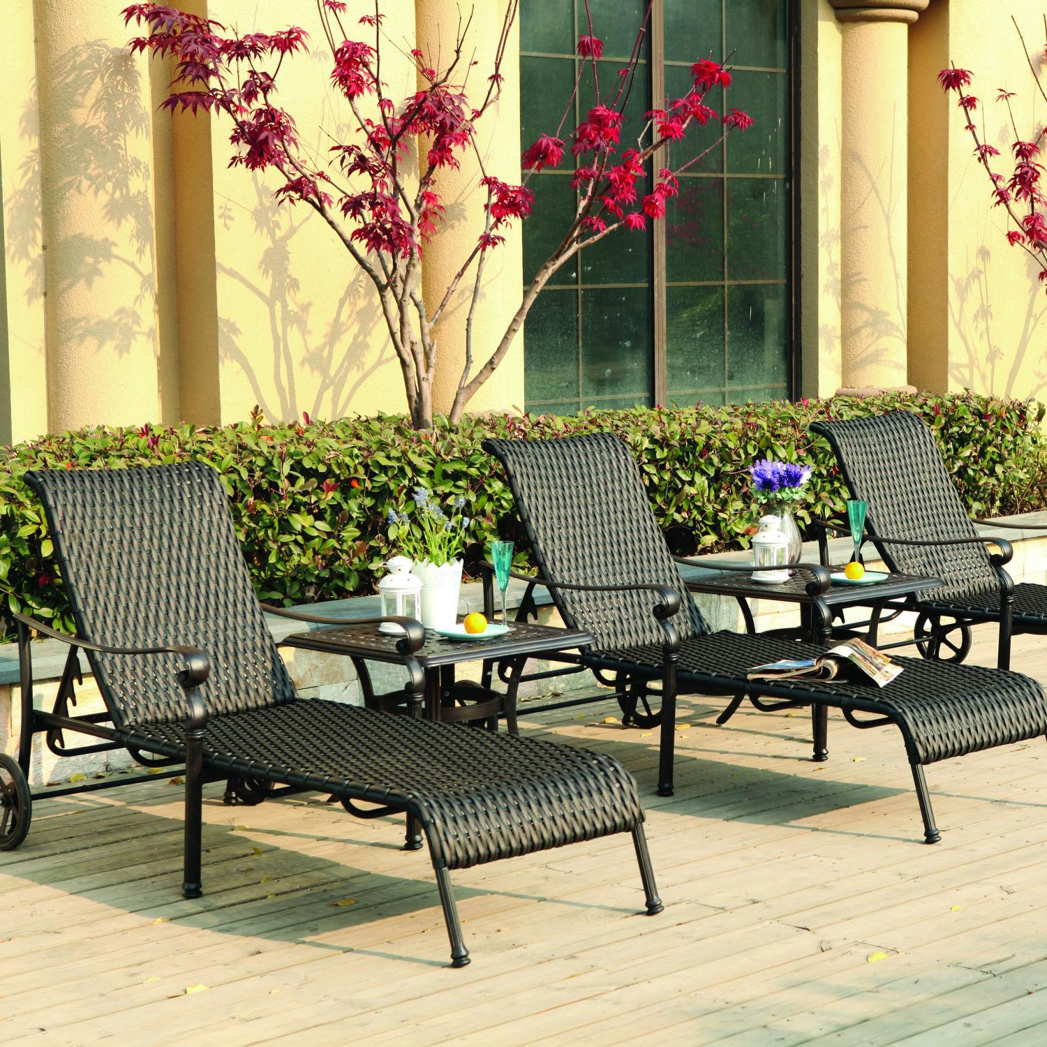Resin Wicker Aluminum Multi Position Chaise Lounges For Newest Darlee Victoria 5 Piece Resin Wicker Patio Chaise Lounge Set With End Tables (View 15 of 25)