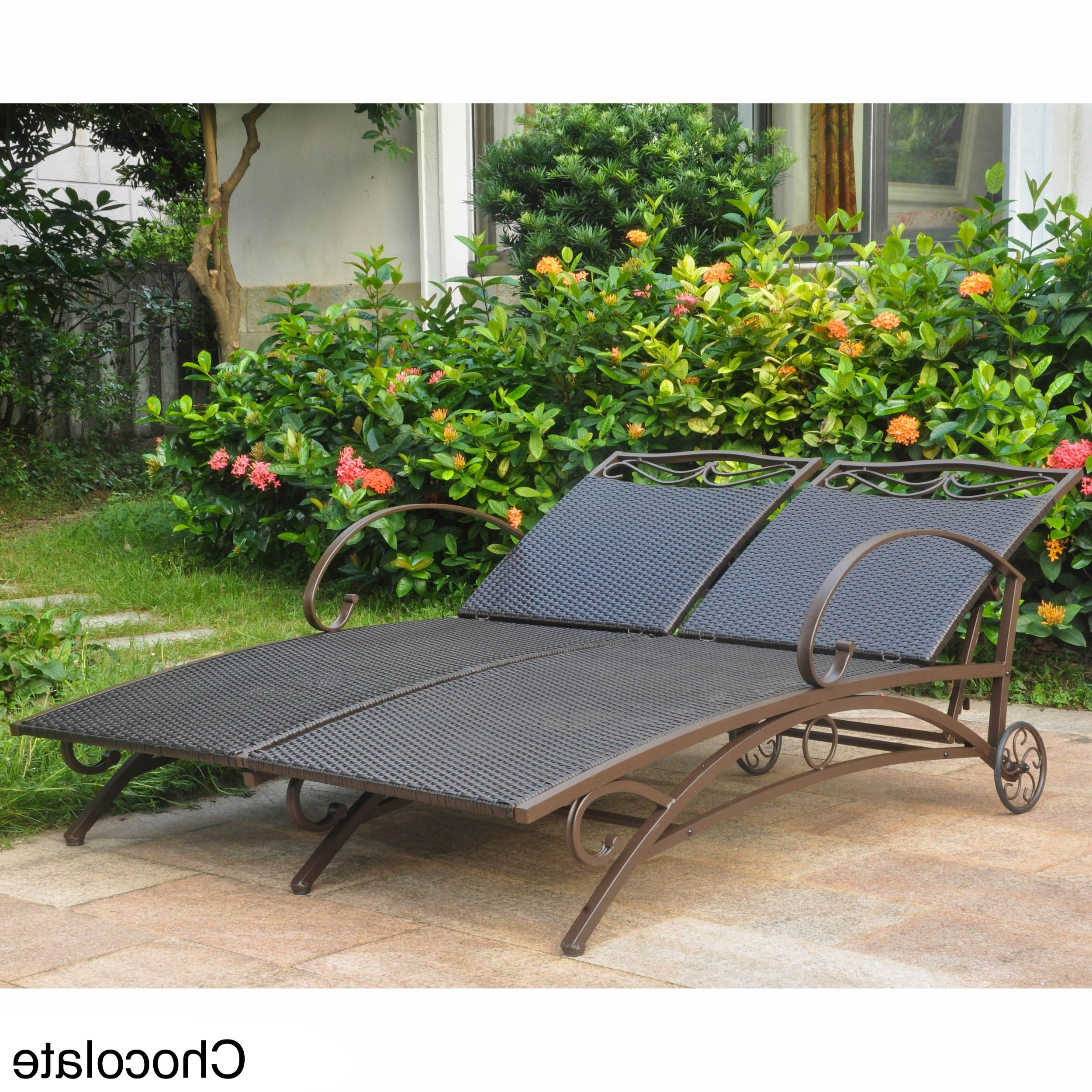 Resin Wicker Aluminum Multi Position Chaise Lounges Within Most Popular International Caravan Valencia Resin Wicker Multi Position Double Patio  Chaise Lounge (View 21 of 25)