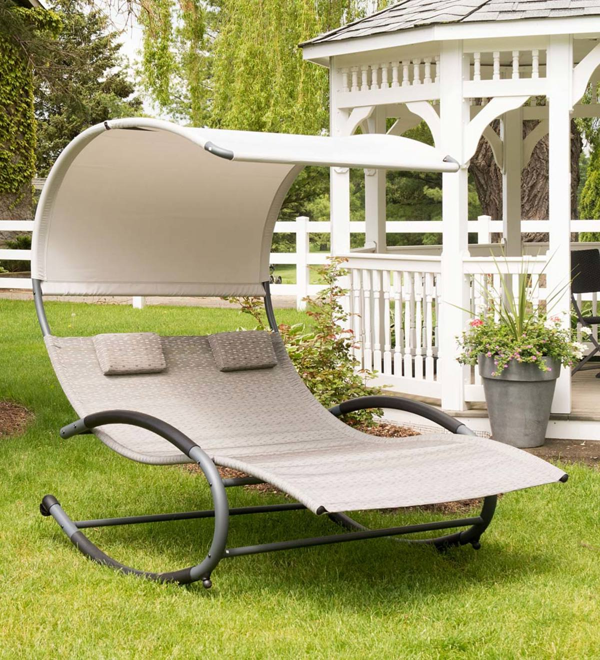 Resin Wicker Multi Position Double Patio Chaise Lounges Intended For Famous Outdoor Double Chaise Lounge Rocker With Shade Awning (View 21 of 25)