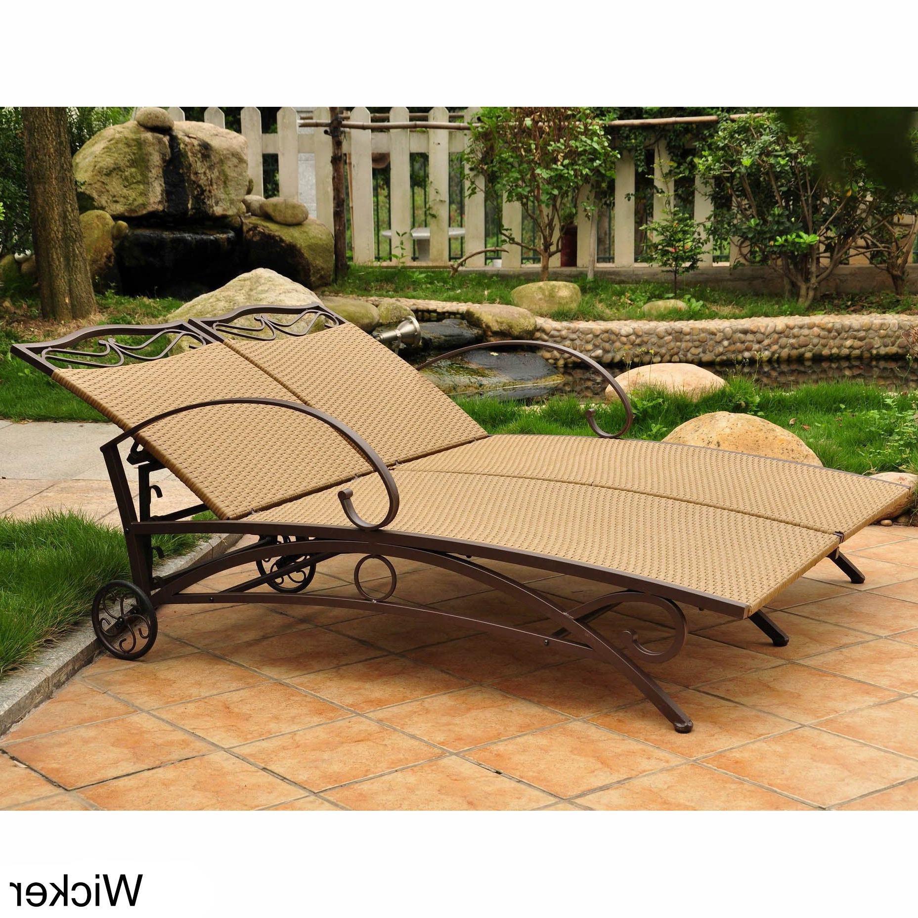 Resin Wicker Multi Position Double Patio Chaise Lounges Intended For Favorite International Caravan Valencia Resin Wicker Multi Position Double Patio Chaise Lounge (View 2 of 25)