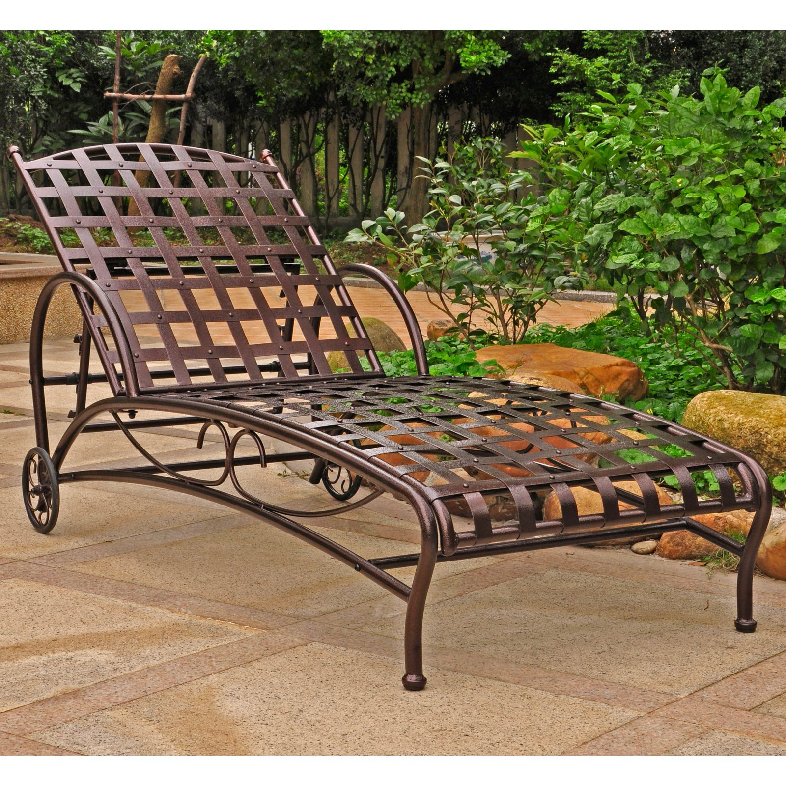 Resin Wicker Multi Position Double Patio Chaise Lounges Regarding Latest International Caravan Santa Fe Iron Multi Position Single (View 6 of 25)