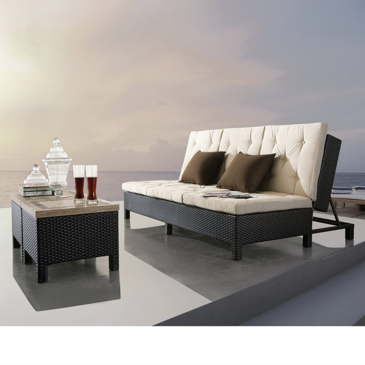 Resin Wicker Multi Position Double Patio Chaise Lounges With Regard To Fashionable Sirio Euro Patio Double Chaise Lounge Sofa Set (View 22 of 25)