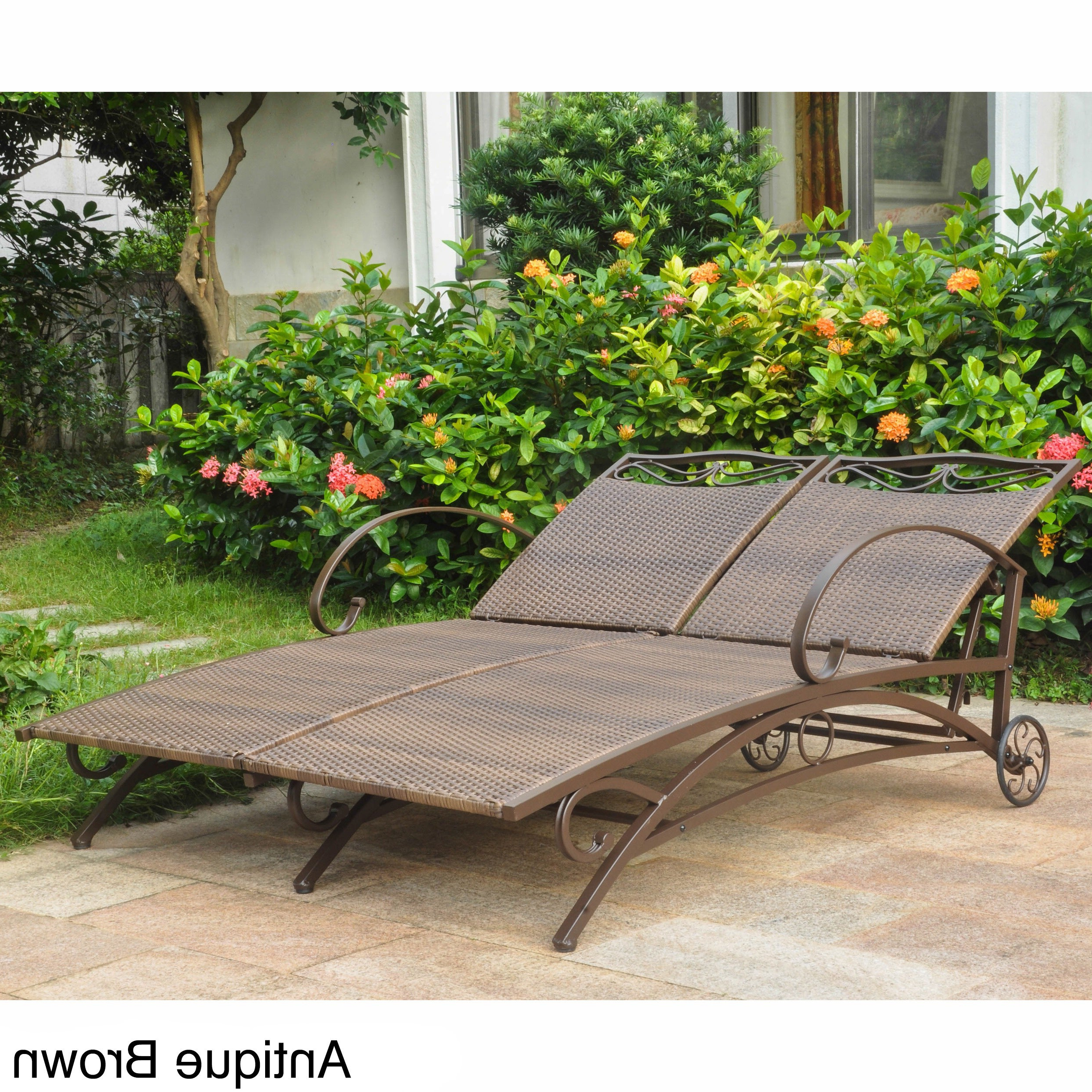 Featured Photo of Resin Wicker Multi-position Double Patio Chaise Lounges
