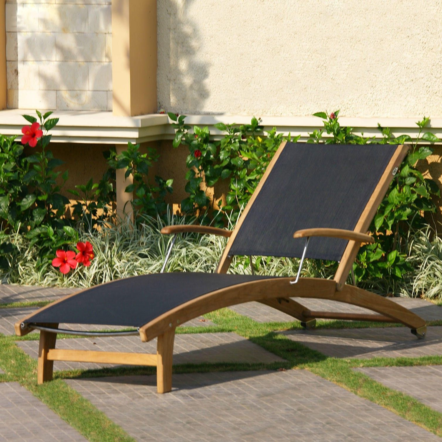 Rivera Teak Sling Lounge Chair – Outdoor Chaise Lounges For Well Known Outdoor Sling Eucalyptus Chaise Loungers (View 20 of 25)