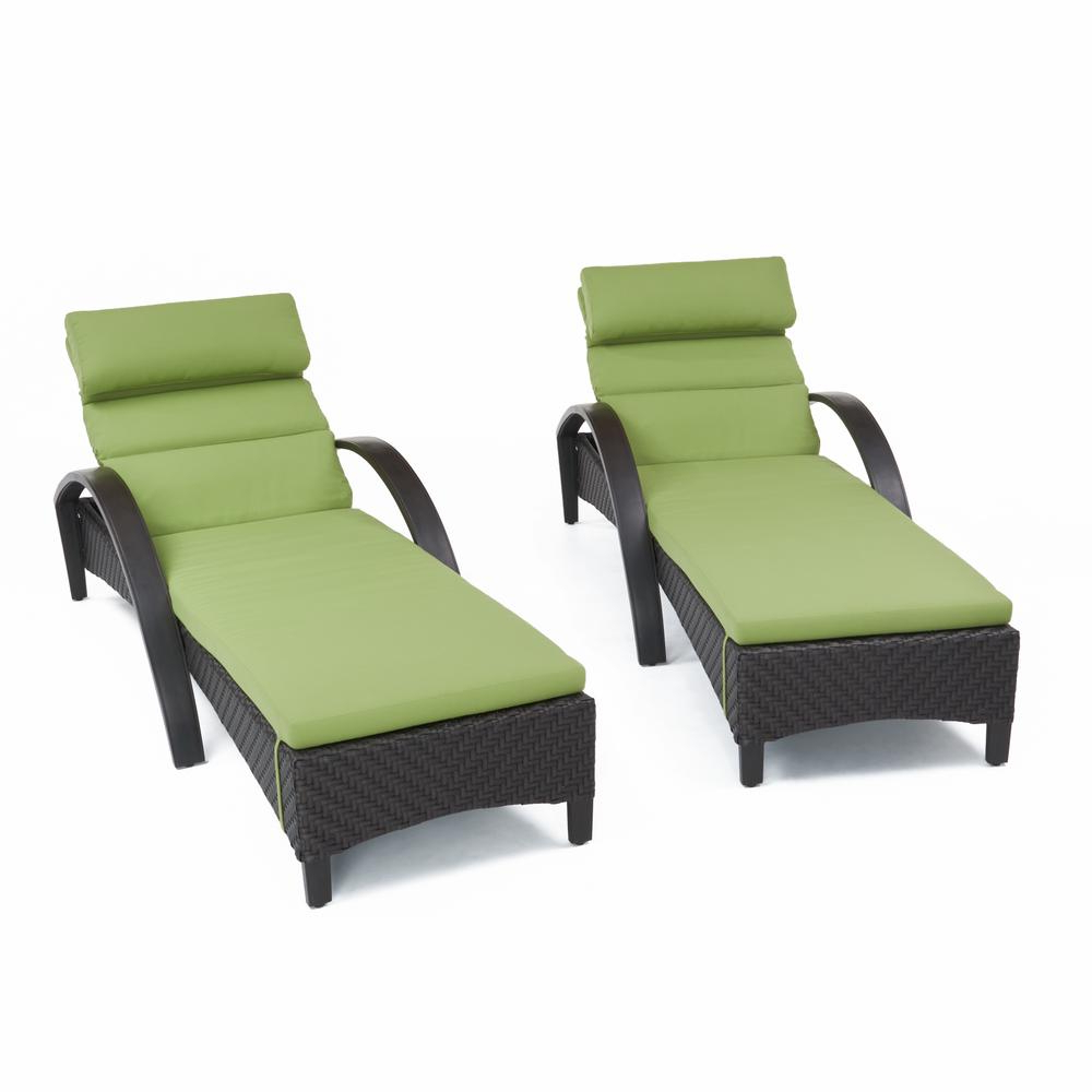 Rst Brands Barcelo 2 Piece Wicker Outdoor Chaise Lounge With Sunbrella Ginkgo Green Cushions Within Most Recent 2 Piece Outdoor Wicker Chaise Lounge Chairs (View 25 of 25)