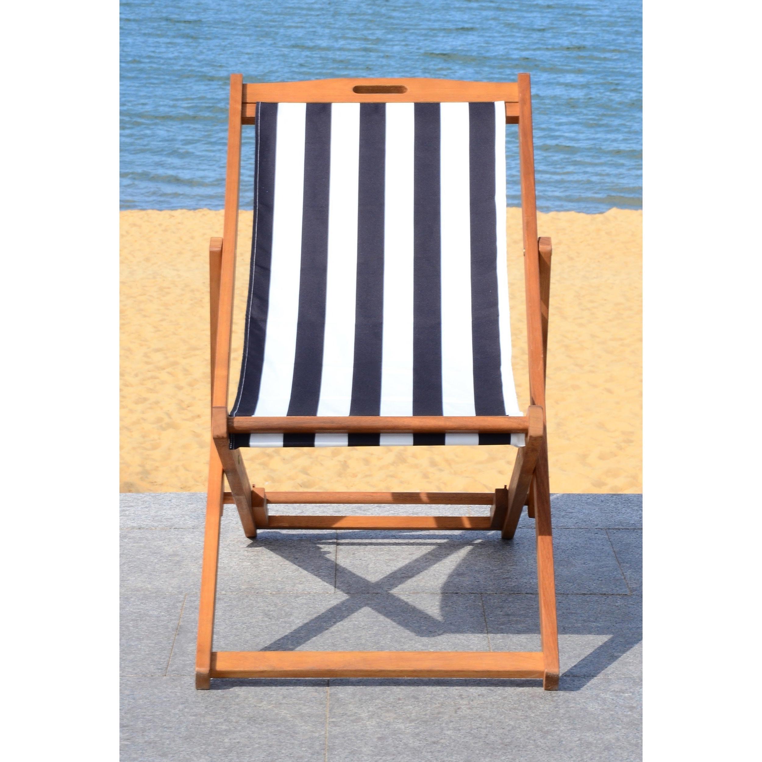 Safavieh Loren Natural/black Foldable Sling Chair Regarding Recent Amazonia Copacabana Wood Swing Chairs (View 11 of 25)