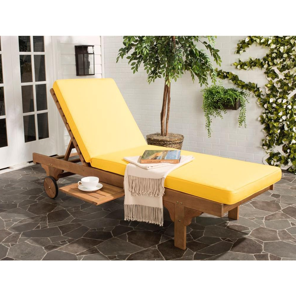 Safavieh Newport Teak Brown Outdoor Patio Chaise Lounge Chair With Yellow  Cushion With Regard To Recent Amazonia Pacific 3 Piece Wheel Lounger Sets With White Cushions (View 22 of 25)