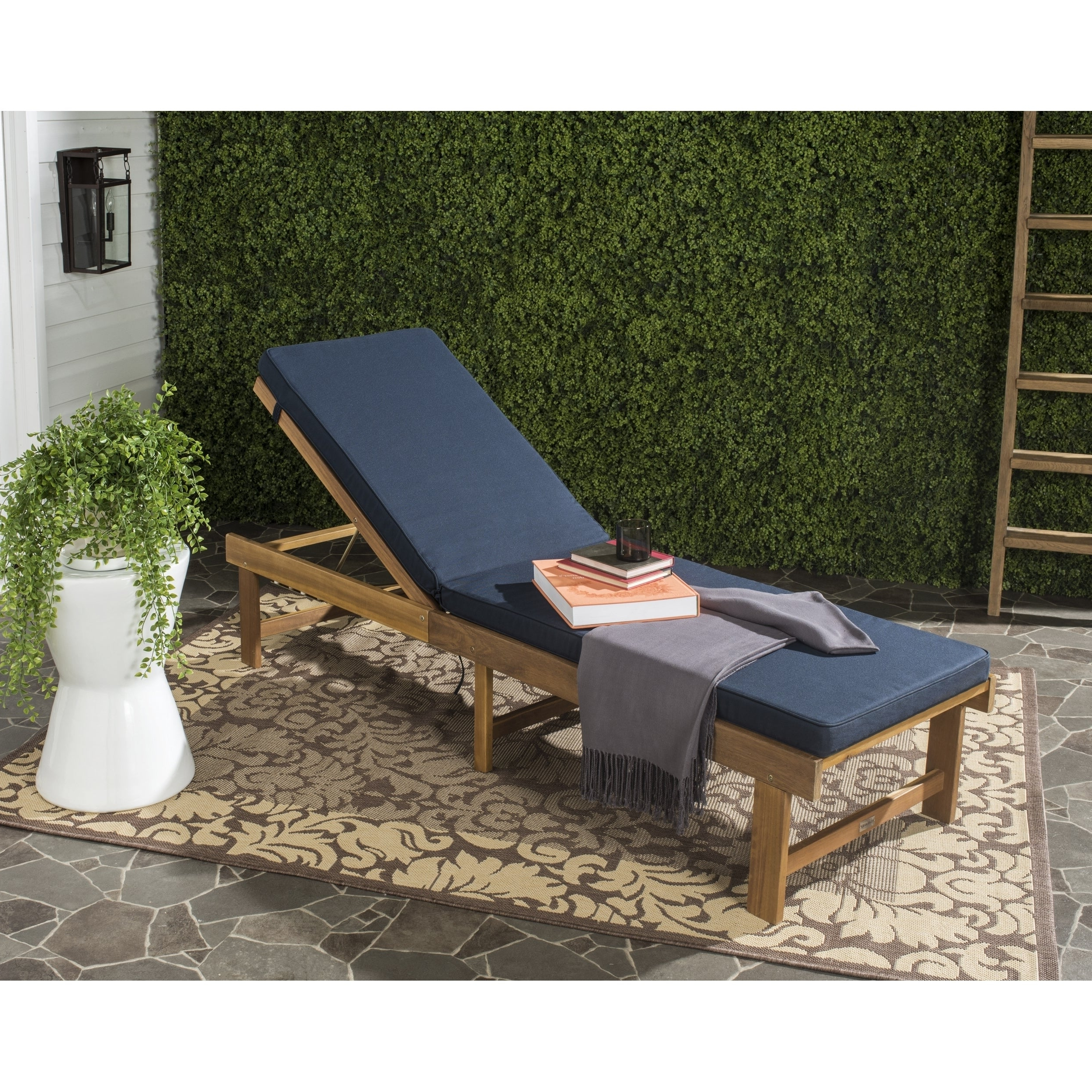 """Safavieh Outdoor Living Inglewood Brown/ Navy Chaise Lounge Chair – 23.6"""" X  75.2"""" X  (View 24 of 25)"""