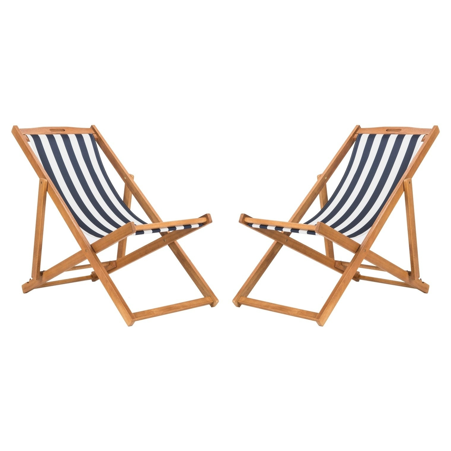 Safavieh Outdoor Living Loren Foldable Sling Chair – Navy / White (Set Of 2) Throughout Favorite Outdoor Wood Sling Chairs (View 19 of 25)