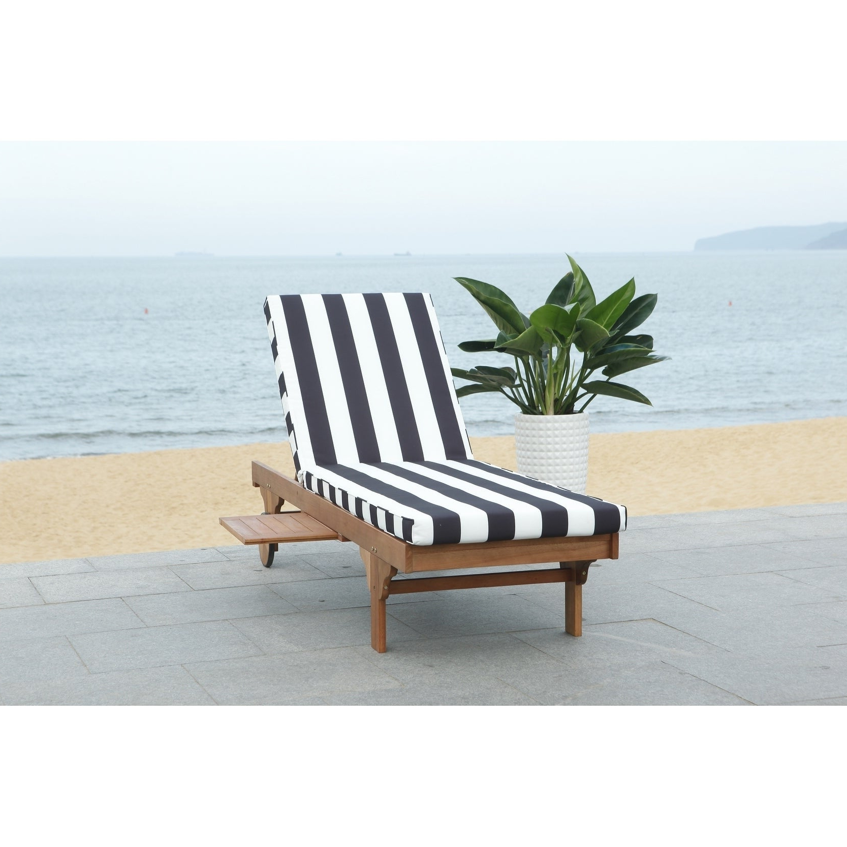 "Safavieh Outdoor Living Newport Ash Black/ White Stripe Cart Wheel Adjustable Chaise Lounge Chair – 27.6"" X 78.7"" X (View 2 of 25)"