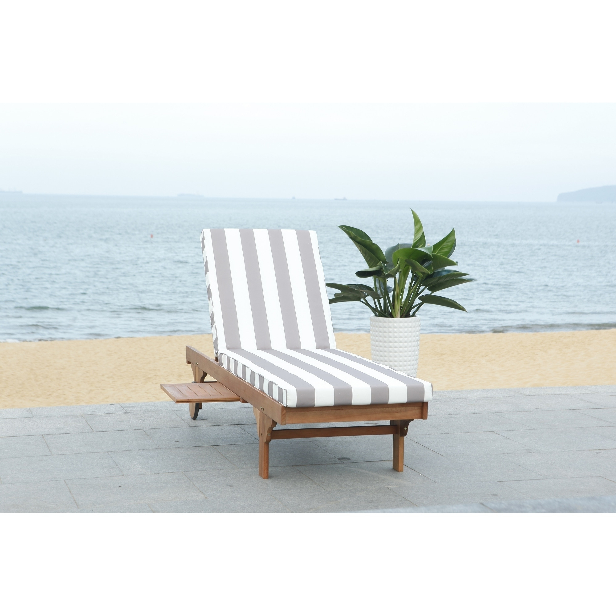 Safavieh Outdoor Living Newport Grey/ White Stripe Cart For Favorite Outdoor Cart Wheel Adjustable Chaise Lounge Chairs (View 22 of 25)