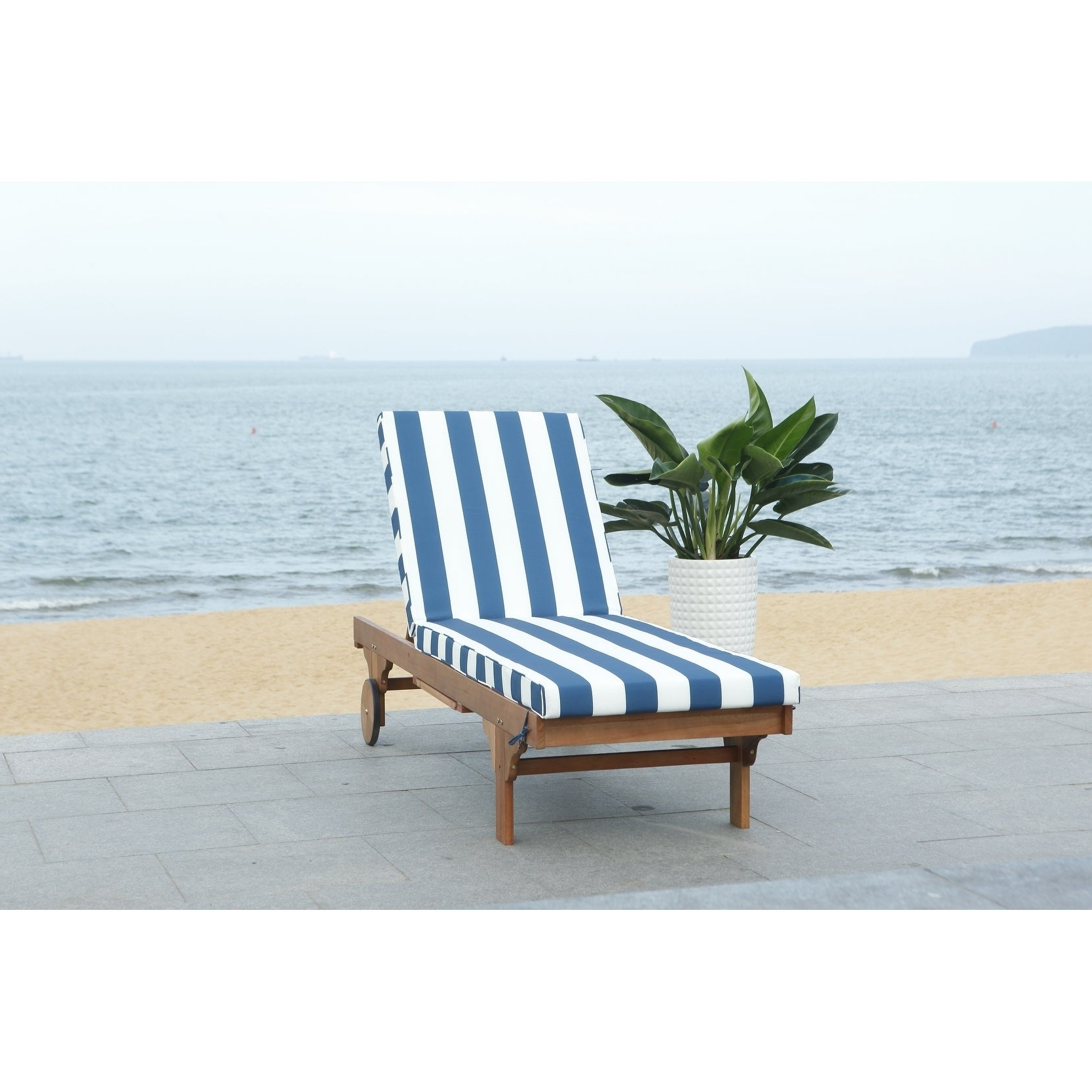 """Safavieh Outdoor Living Newport Navy/ White Stripe Cart Wheel Adjustable Chaise Lounge Chair – 27.6"""" X 78.7"""" X (View 16 of 25)"""