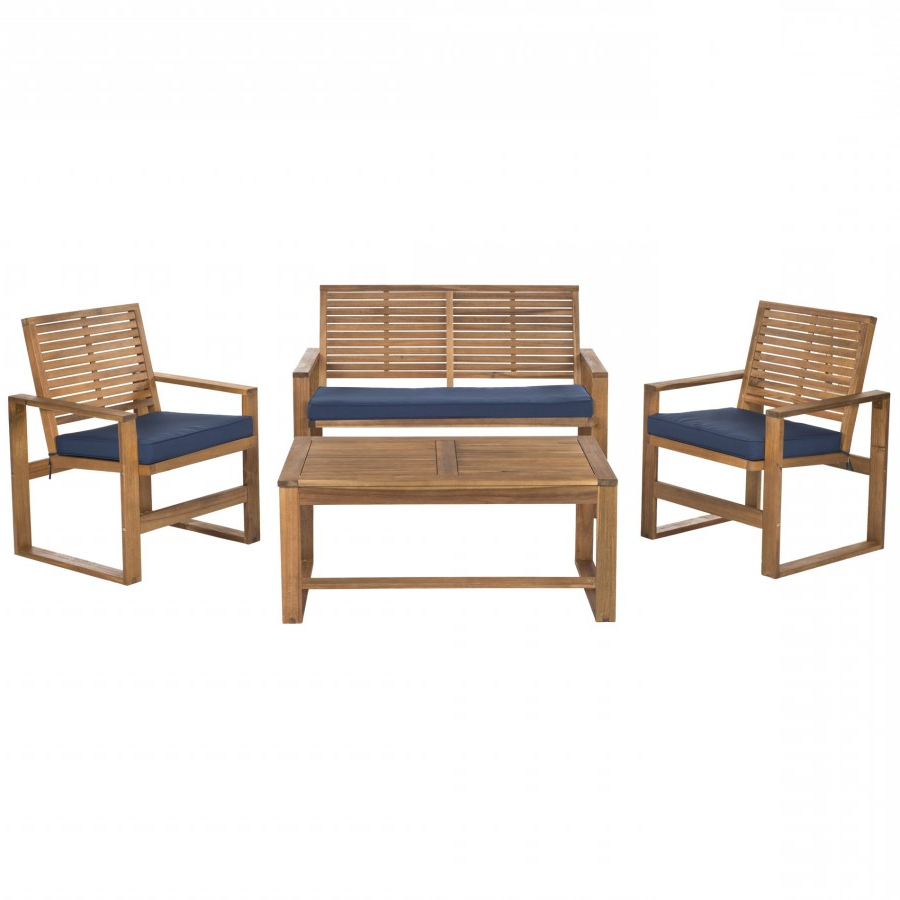 Safavieh Ozark 4 Piece Set – Brown/navy Within Most Up To Date Outdoor Living Pomona Loungers (View 21 of 25)