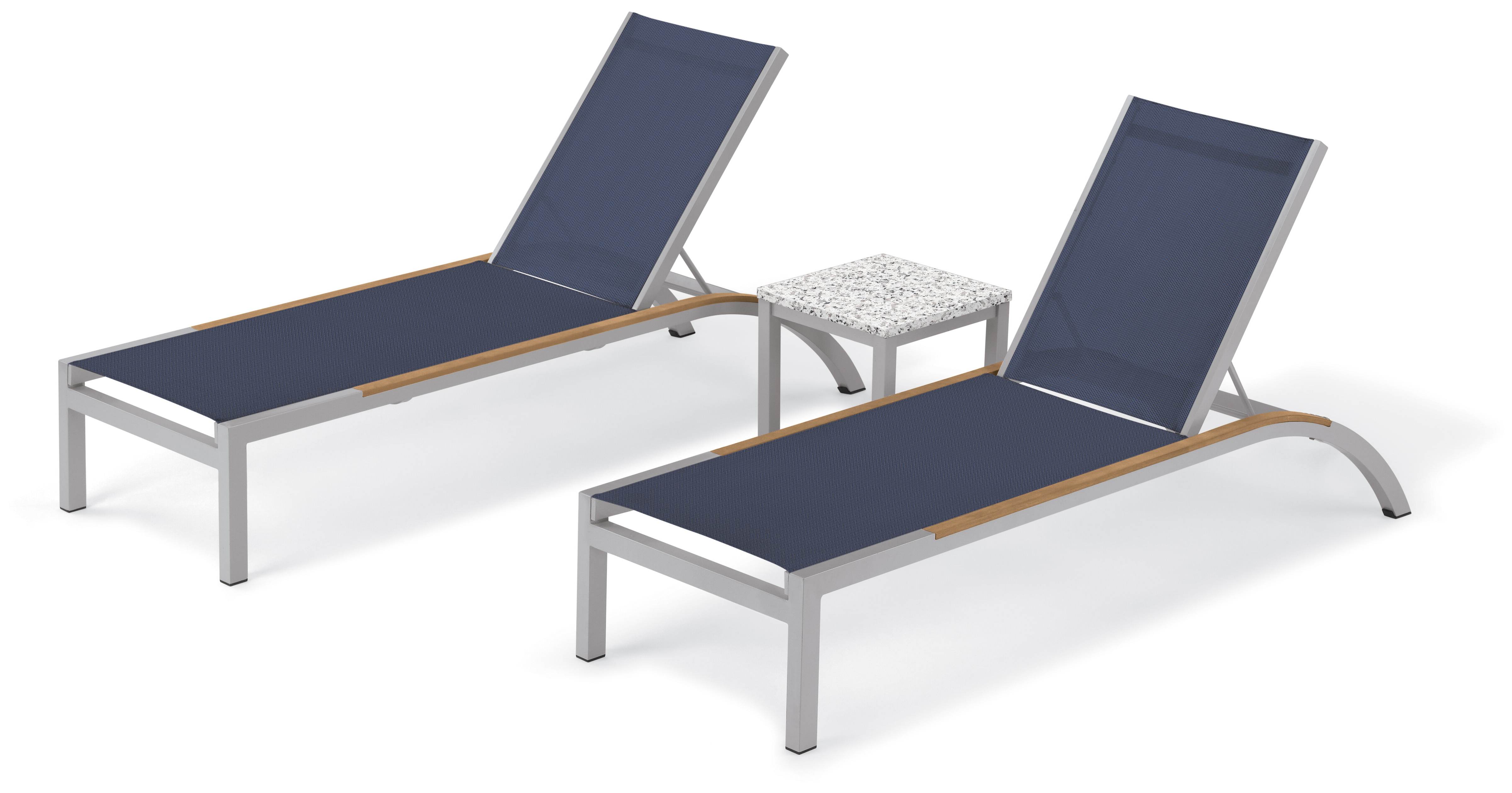 Saint Pierre Reclining Chaise Lounge With End Table In Widely Used Fabric Reclining Outdoor Chaise Lounges (View 12 of 25)