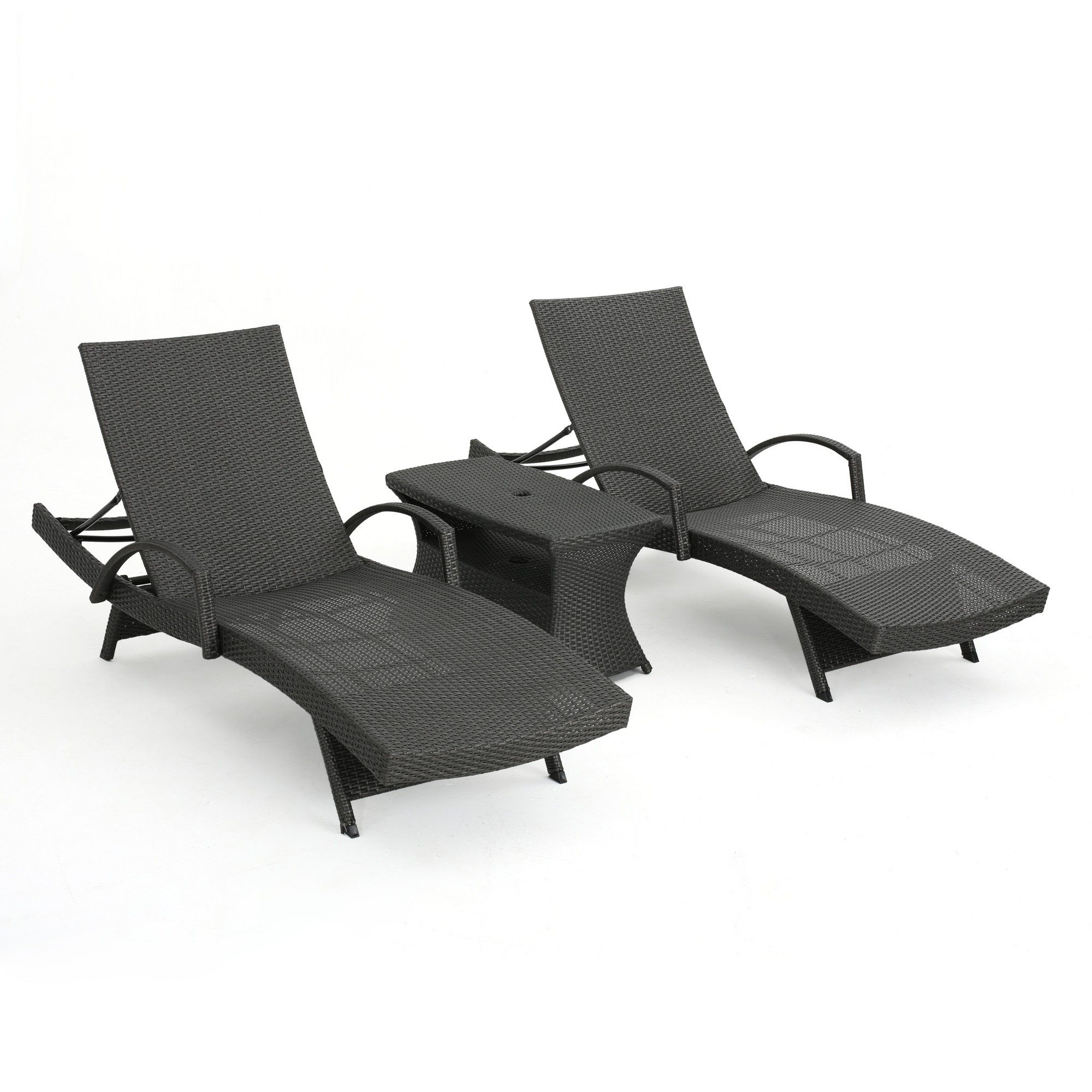 Salem 3pc Wicker Adjustable Arm Chaise Lounge Set – Gray Pertaining To Famous Havenside Home Surfside Rutkoske Outdoor Wood Chaise Lounges (View 16 of 25)
