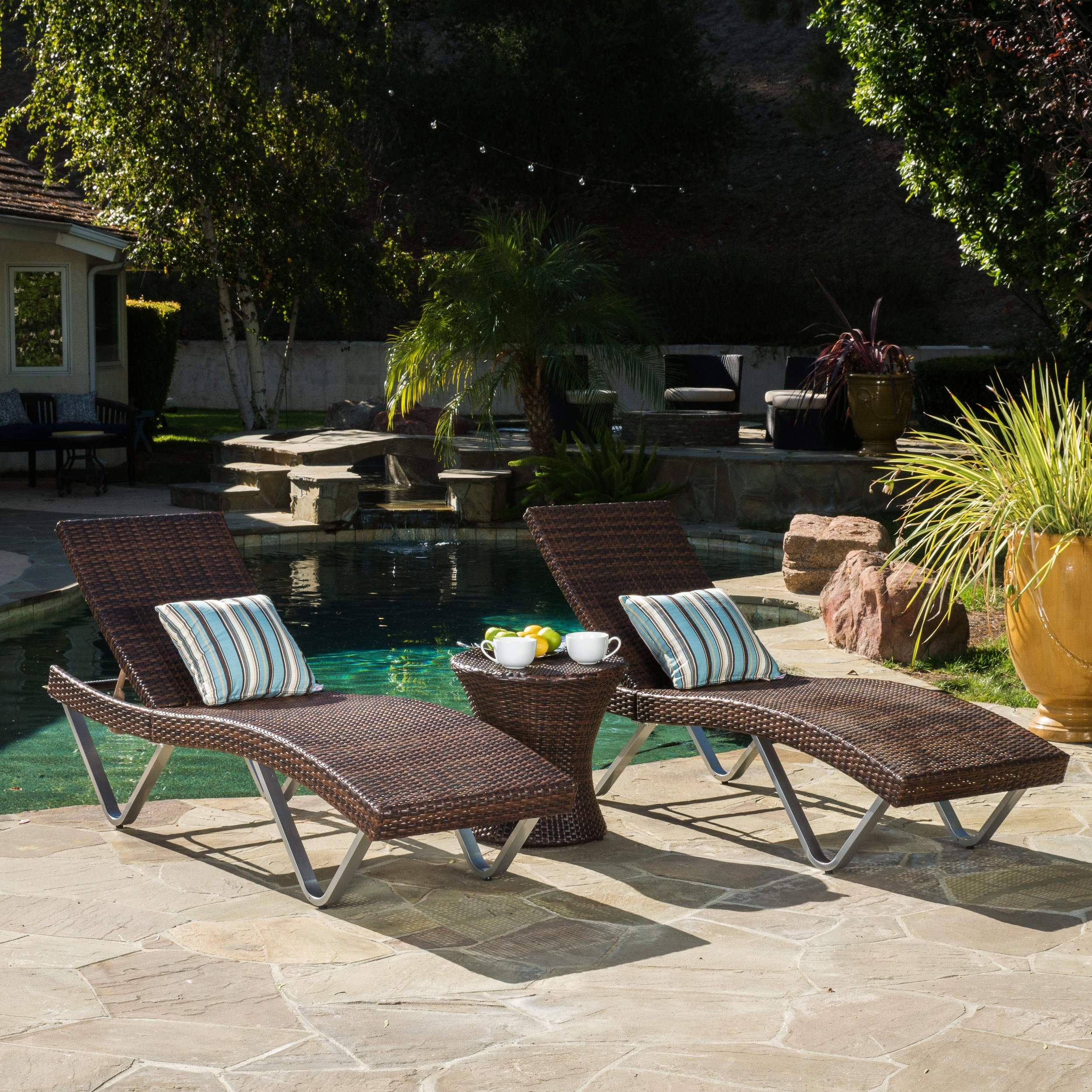 San Marco Outdoor 3 Piece Wicker Chaise Lounge Setchristopher Knight Home With Regard To Recent Outdoor 3 Piece Wicker Chaise Lounges And Table Sets (View 5 of 25)