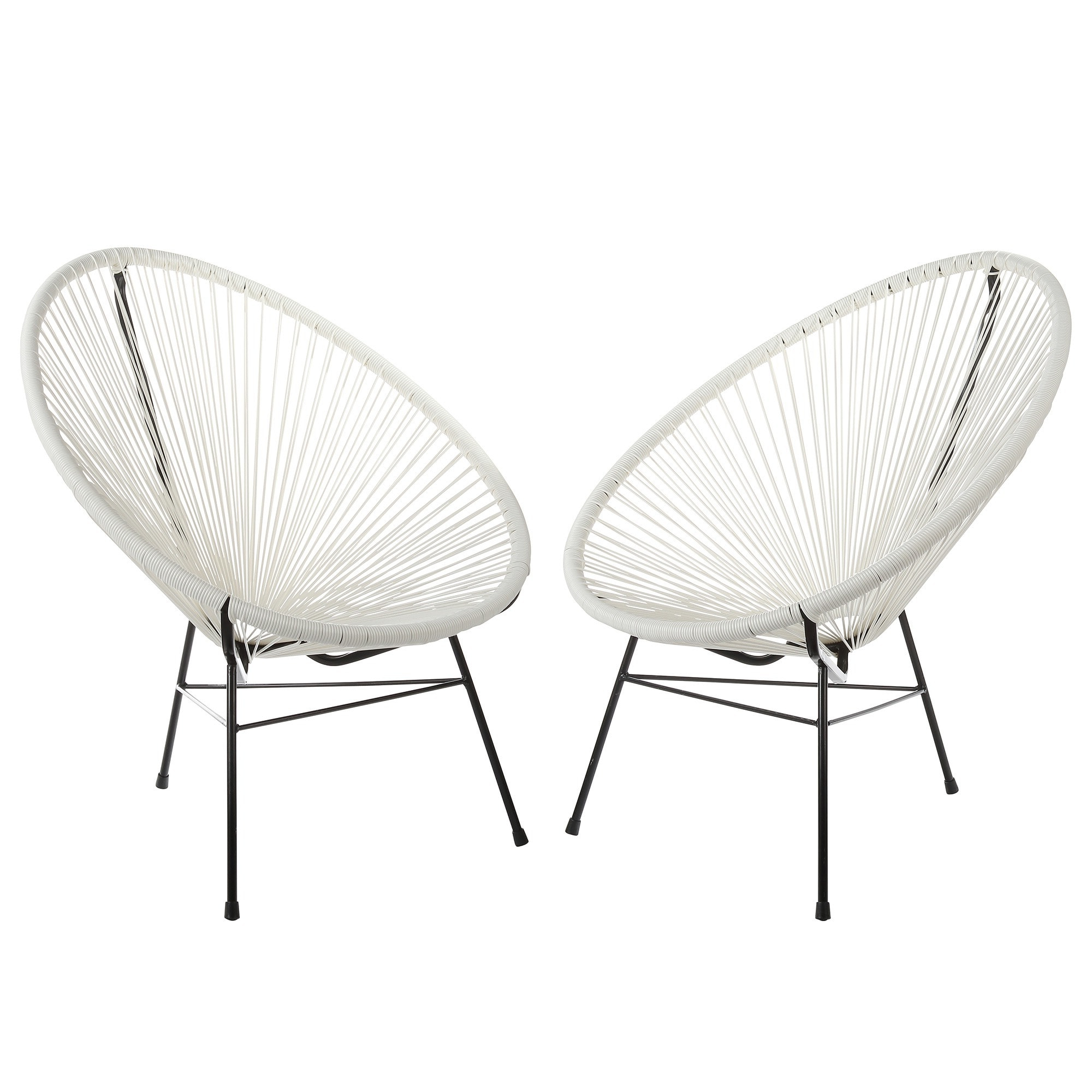 Set Of 2 Polivaz Woven Basket Lounge Chairs (china) (white Pertaining To Well Known Handmade Acapulco Woven Indoor Outdoor Lounge Chairs (View 14 of 25)