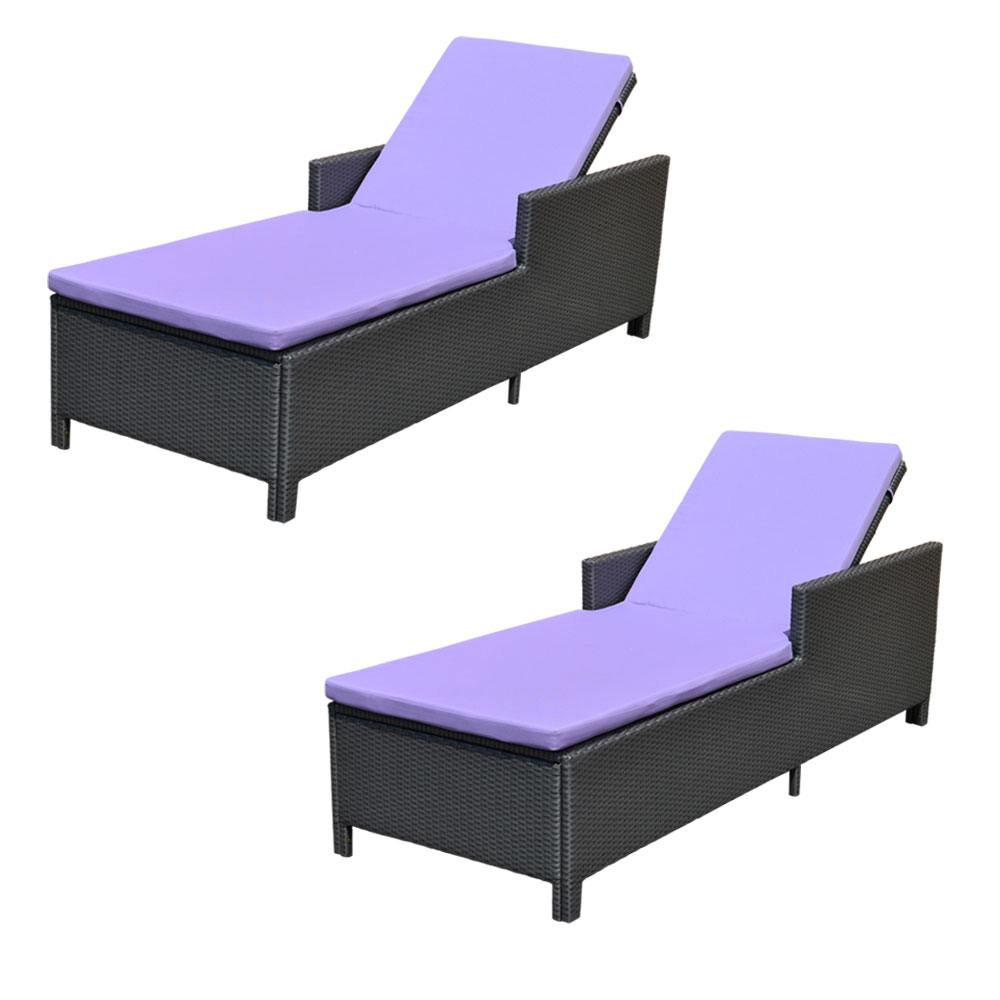 Set Of 2 Wicker Chaise Lounge Chair Rattan Pool Patio Lounger Sunbed Lavender Pertaining To Favorite Outdoor Wicker Chaise Lounge Chairs (View 19 of 25)