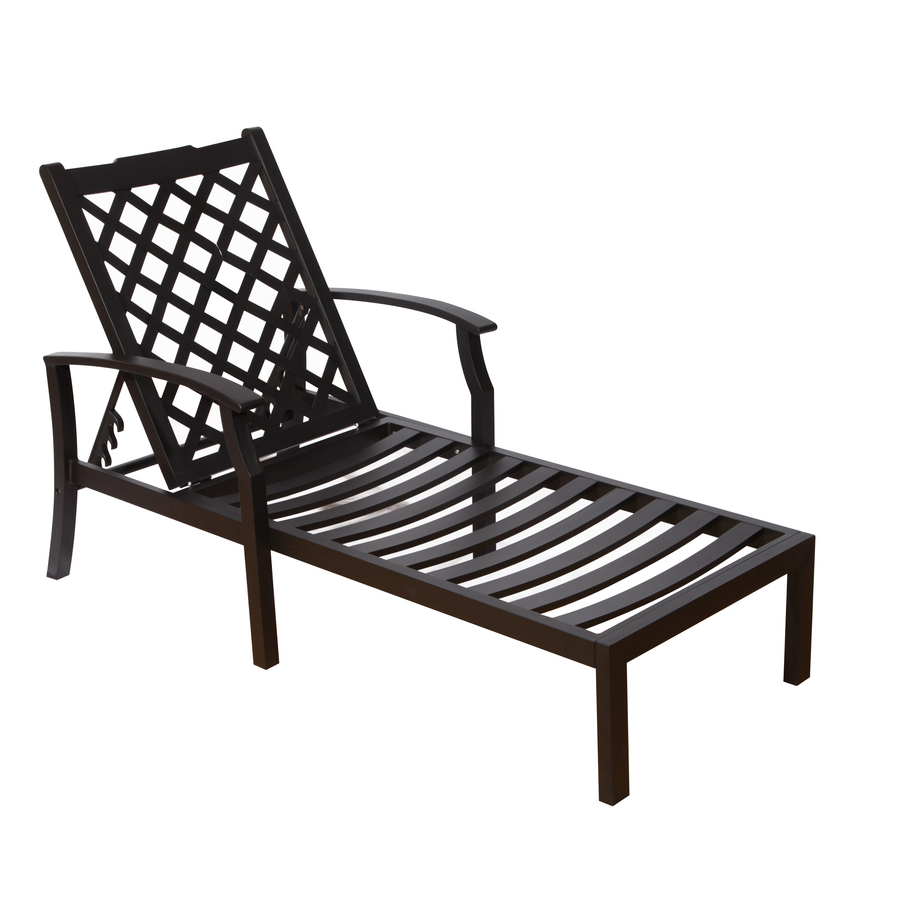 Shop Allen Roth Carrinbridge Black Aluminum Patio Chaise Within Most Recently Released Outdoor Aluminum Chaise Lounges (View 21 of 25)