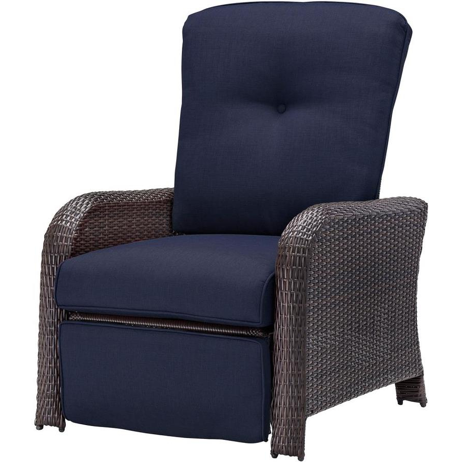 Shop Hanover Outdoor Furniture Strathmere Wicker Recliner Inside Popular Outdoor Adjustable Rattan Wicker Recliner Chairs With Cushion (View 21 of 25)