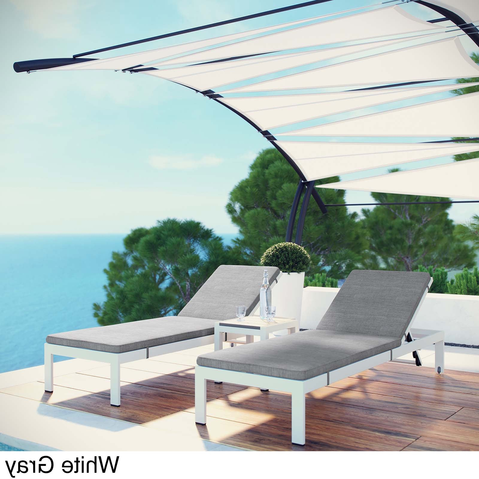 Shore 3 Piece Outdoor Patio Aluminum Chaise With Cushions Inside Favorite Shore Alumunium Outdoor 3 Piece Chaise Lounger Sets (View 15 of 25)