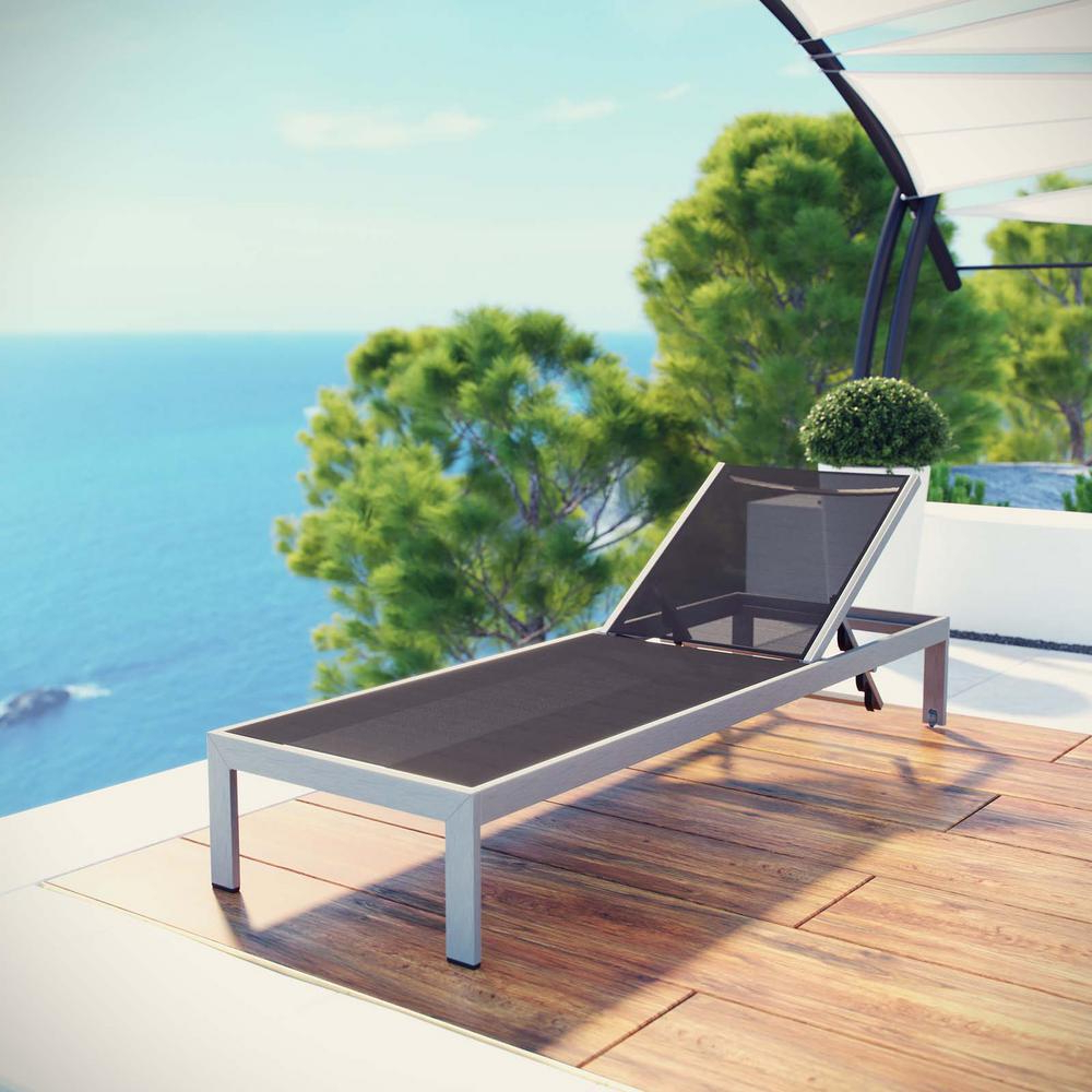 Shore Aluminum Outdoor Chaise Lounges Throughout Trendy Modway Shore Mesh Silver Black Aluminum Outdoor Patio Chaise Lounge (View 17 of 25)