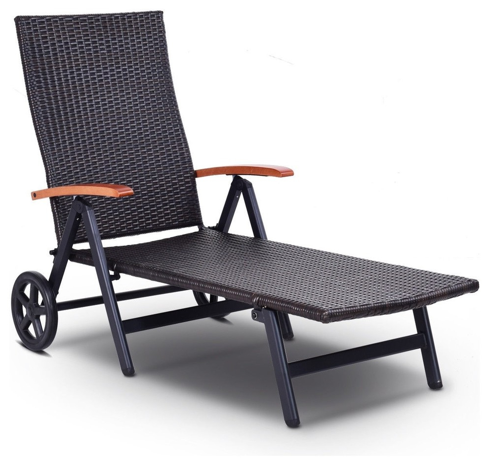 Shore Aluminum Outdoor Chaises Pertaining To Trendy Folding Back Adjustable Aluminum Rattan Recliner Lounger With Wheels (View 20 of 25)