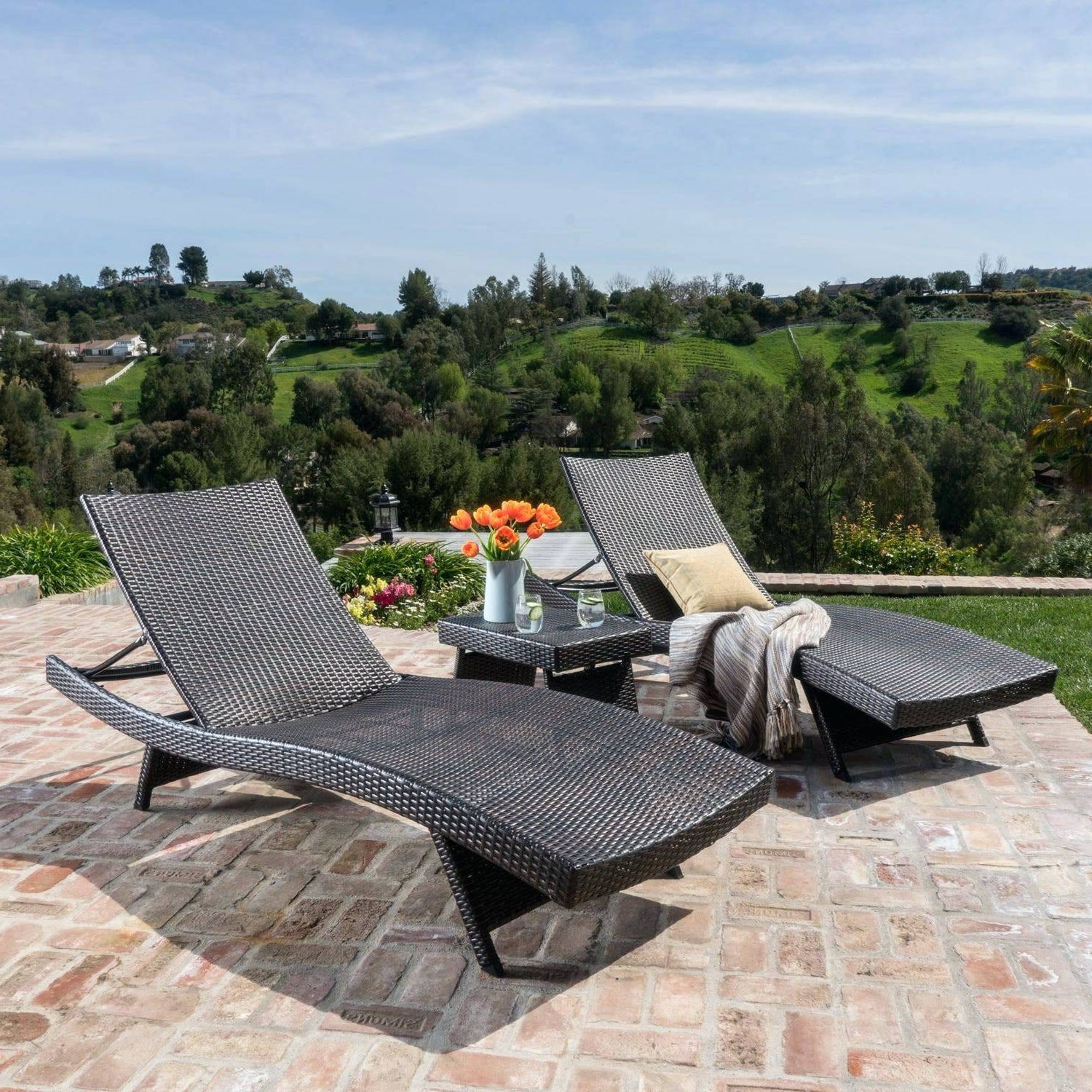 Shore Alumunium Outdoor 3 Piece Chaise Lounger Sets Pertaining To Recent Outdoor Wicker Chaise Lounge Chair Brown 3 Piece Set  (View 17 of 25)