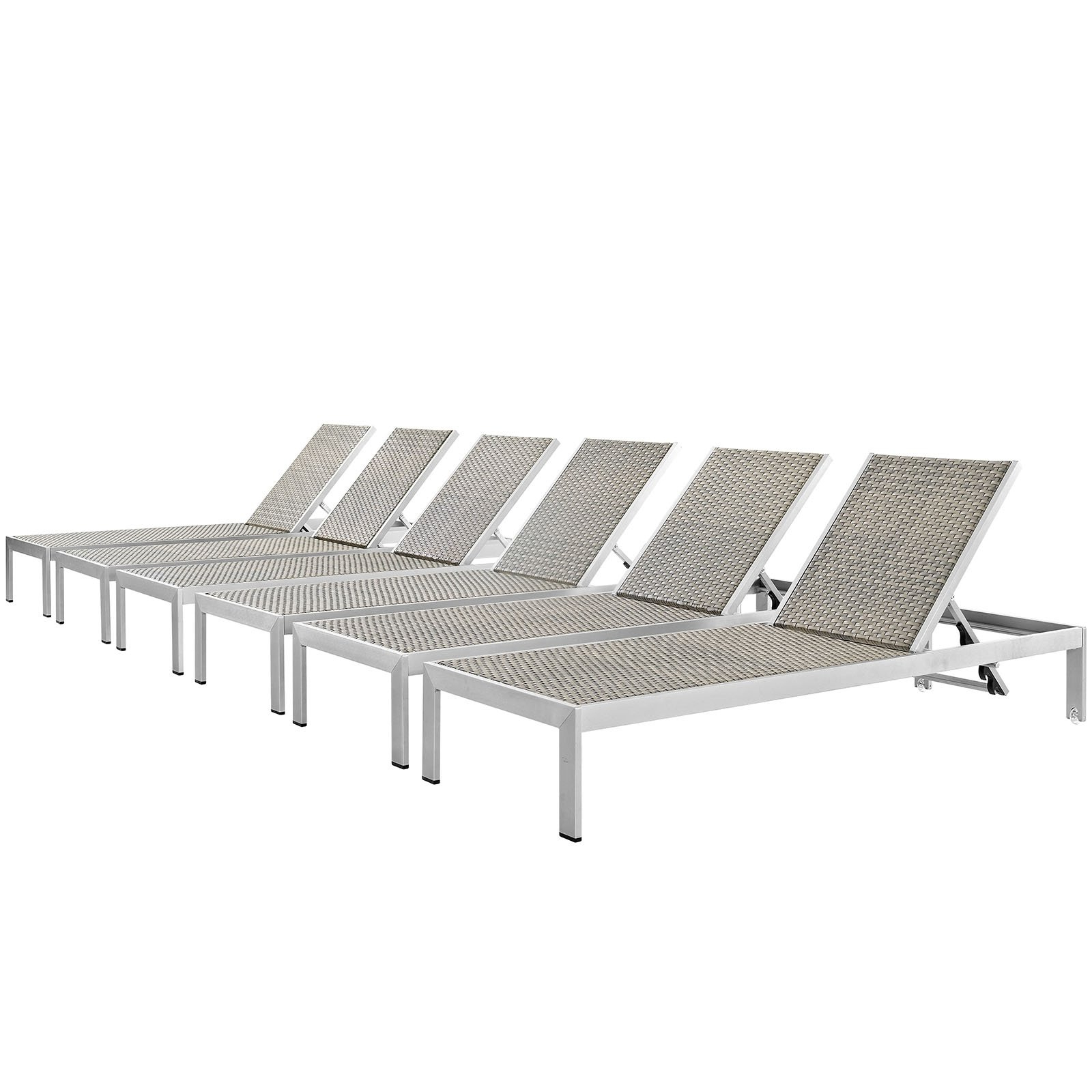 Shore Chaise Outdoor Patio Aluminum Set Of  (View 11 of 25)