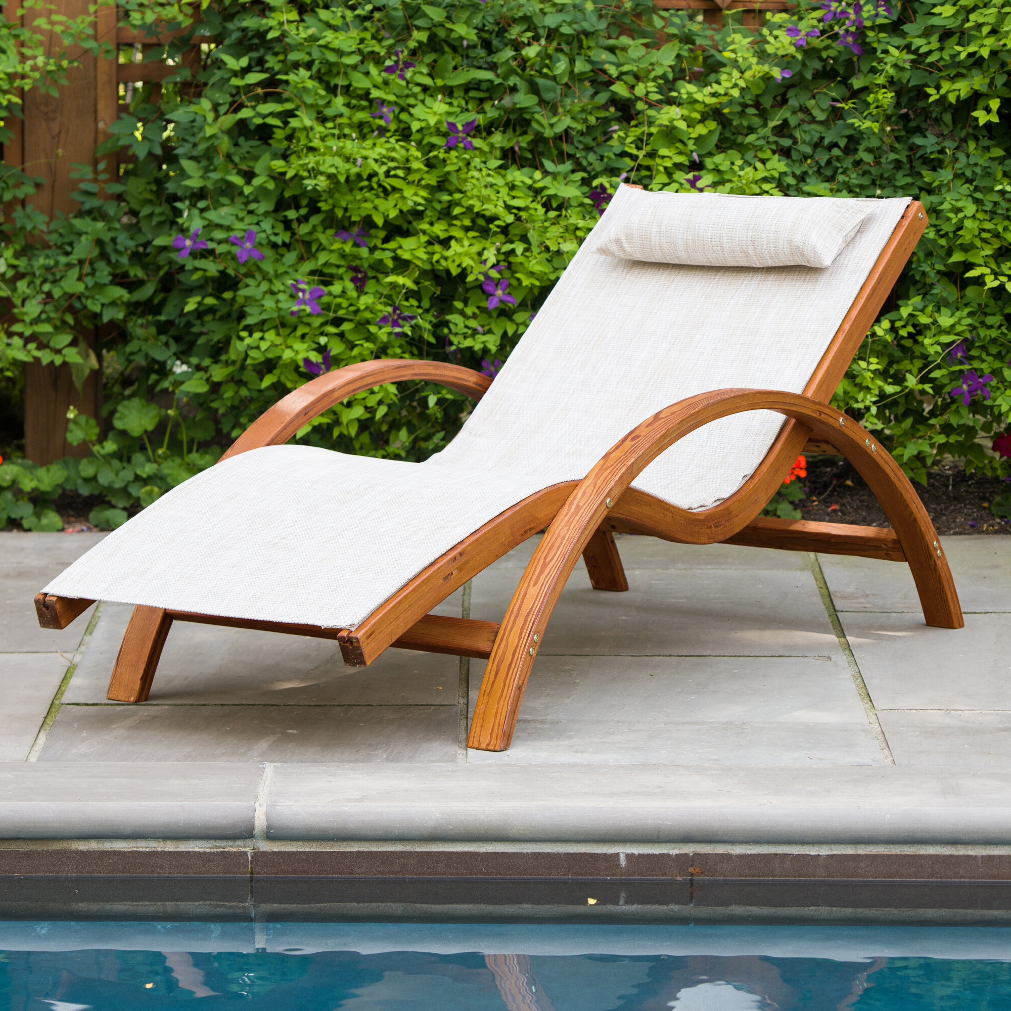 Sling Lounge Chair With Cushion Within Well Liked Outdoor Wood Sling Chairs (View 21 of 25)