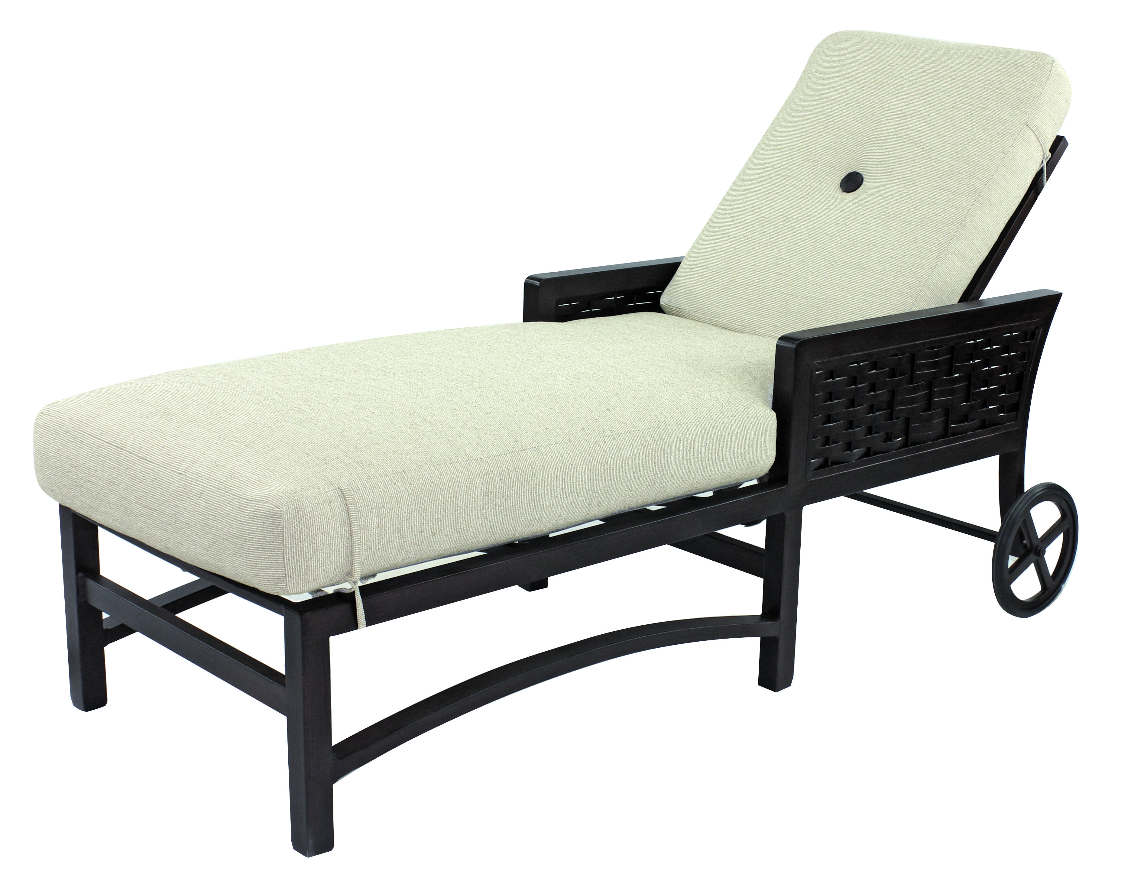 Spanish Bay Cushion Adjustable Chaise Lounge W/ Wheels Intended For Most Current Outdoor Cart Wheel Adjustable Chaise Lounge Chairs (View 15 of 25)
