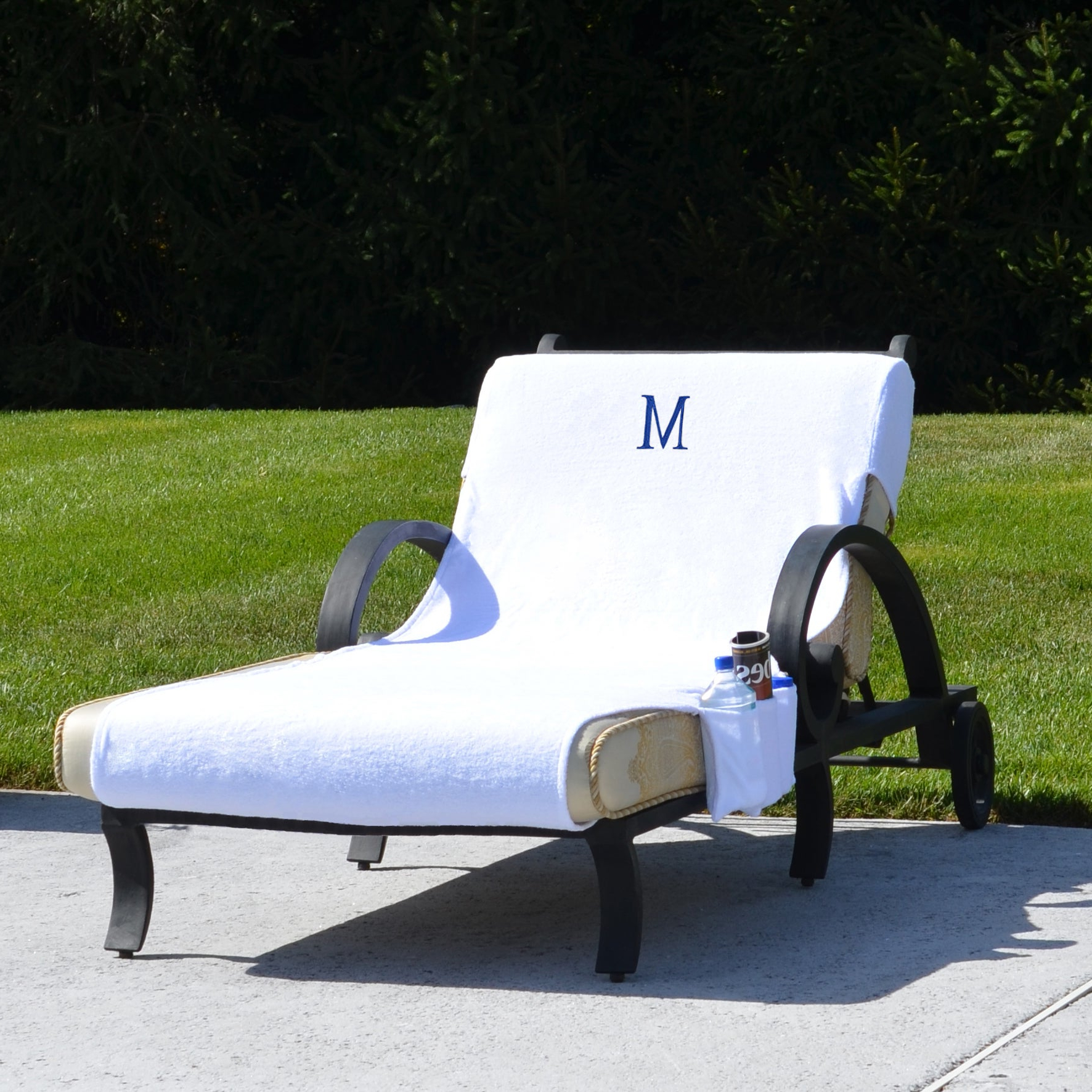 Standard Size Chaise Lounge Chairs Inside Recent Turkish Cotton Monogrammed Towel Cover With Pockets For Standard Size Chaise Lounge Chair (View 8 of 25)