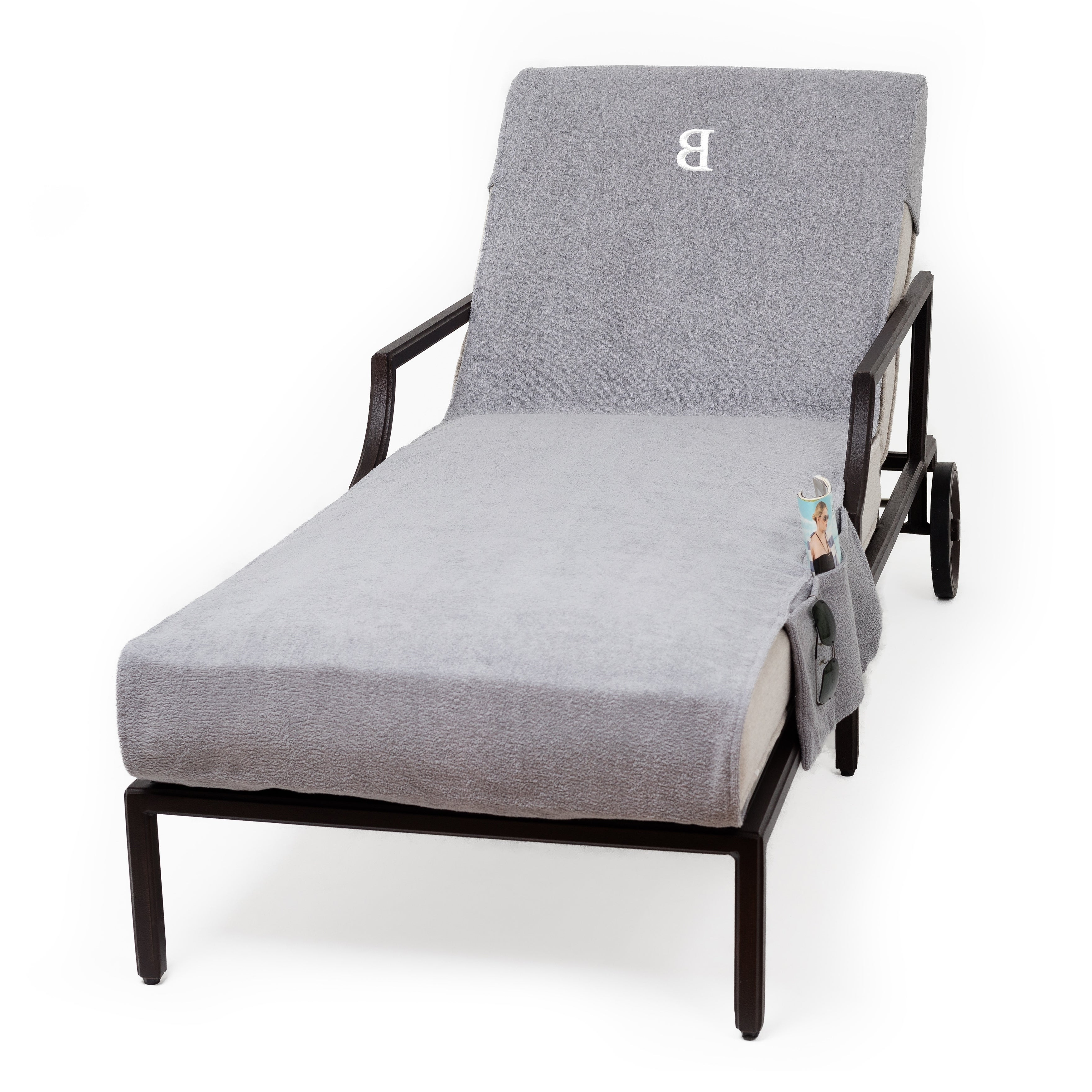 Standard Size Chaise Lounge Chairs Pertaining To Fashionable Authentic Turkish Cotton Monogrammed Grey Towel Cover With Pocket For Standard Size Chaise Lounge Chair (View 4 of 25)