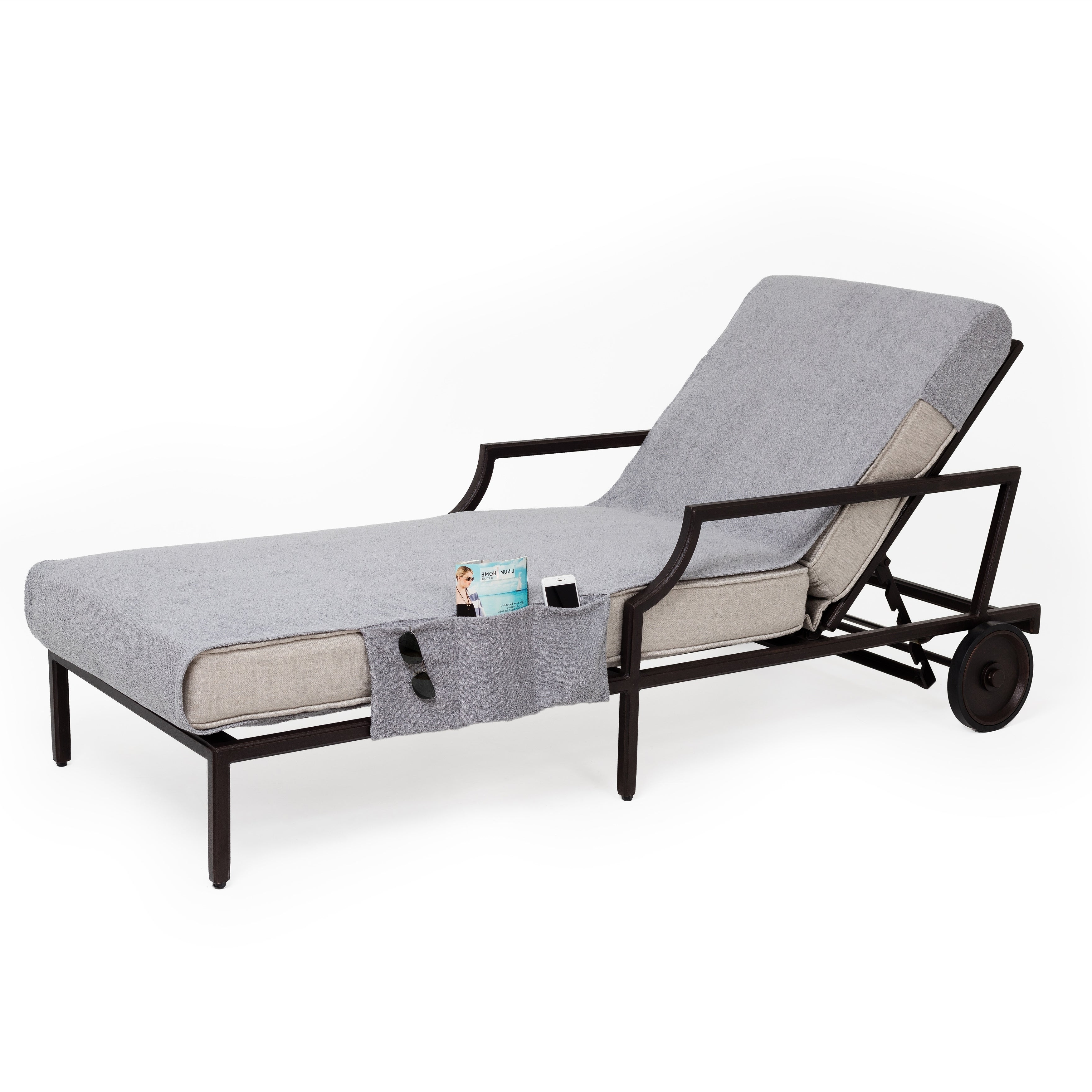 Standard Size Chaise Lounge Chairs With Regard To Well Known Authentic Turkish Cotton Grey Towel Cover With Pocket For Standard Size Chaise Lounge Chair (View 6 of 25)