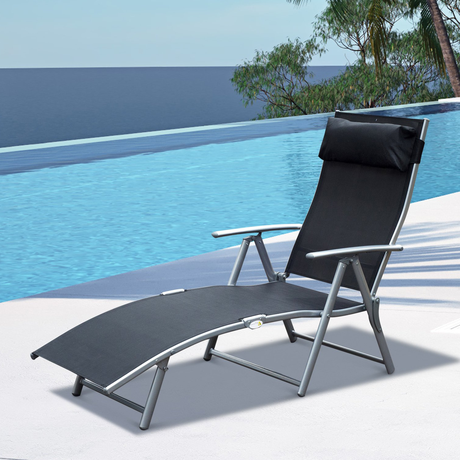 Steel Sling Fabric Outdoor Folding Chaise Lounge Chair Recliner Regarding Favorite Steel Sling Fabric Outdoor Folding Chaise Lounges (View 6 of 25)
