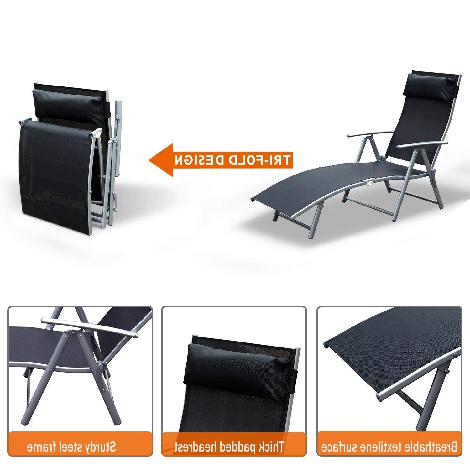 Steel Sling Fabric Outdoor Folding Chaise Lounges Intended For Well Liked Outsunny Steel Sling Fabric Outdoor Folding Chaise Lounge Chair Recliner –  Black (View 18 of 25)
