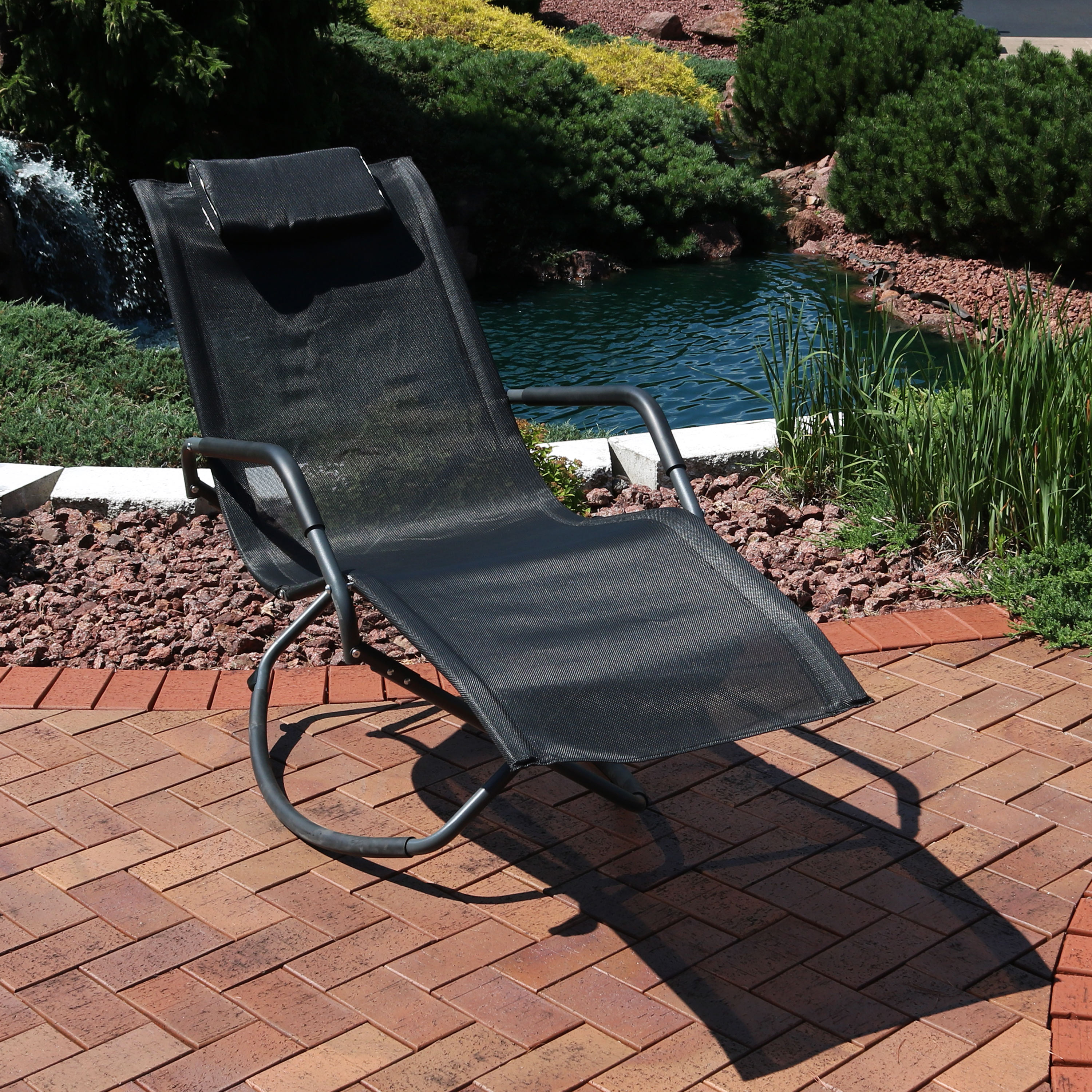 Steel Sling Fabric Outdoor Folding Chaise Lounges Pertaining To Newest Sunnydaze Rocking Chaise Lounge Chair With Headrest Pillow, Outdoor Folding  Patio Lounger, Black (View 19 of 25)