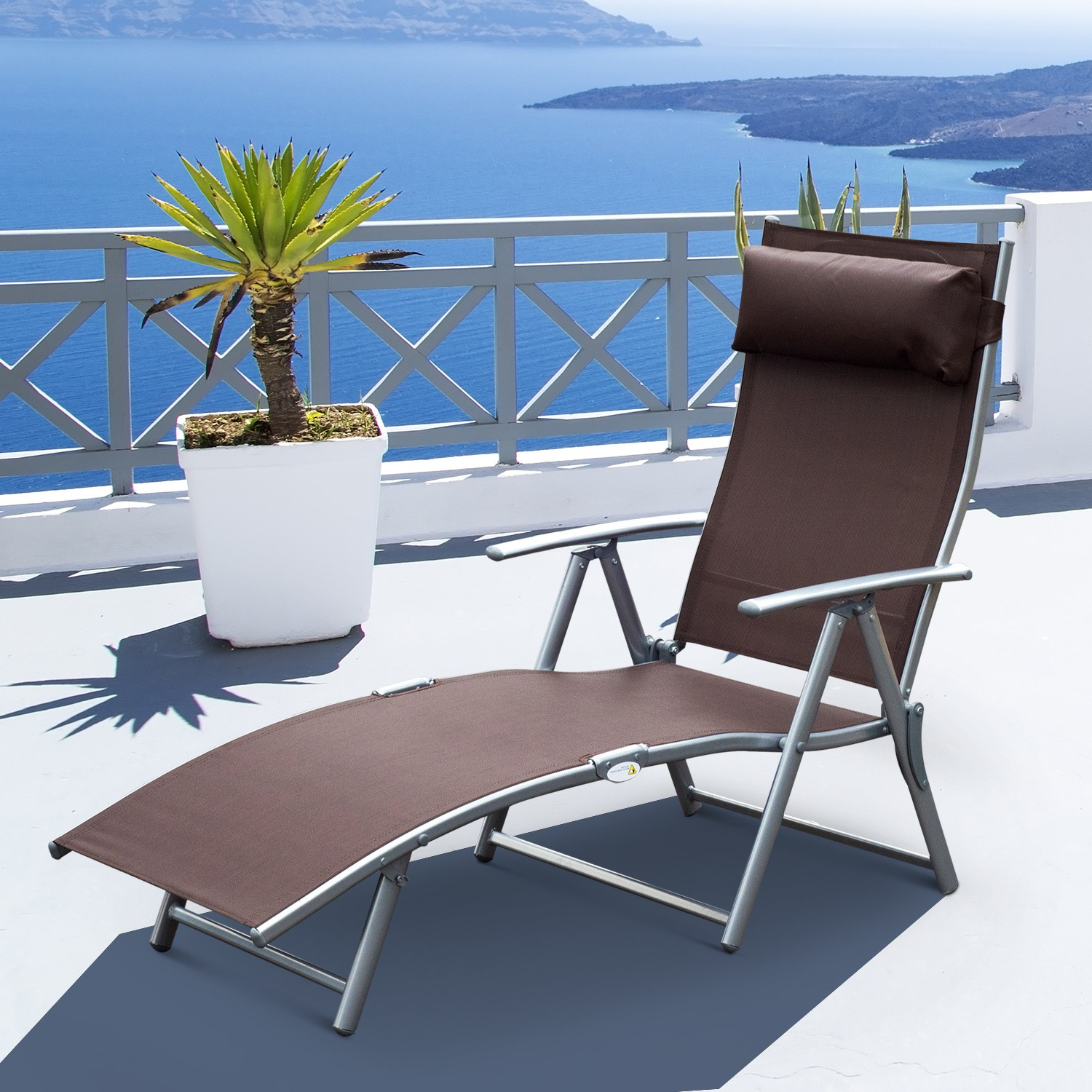 Steel Sling Fabric Outdoor Folding Chaise Lounges With Regard To Favorite Outsunny Steel Sling Fabric Outdoor Folding Chaise Lounge (View 14 of 25)