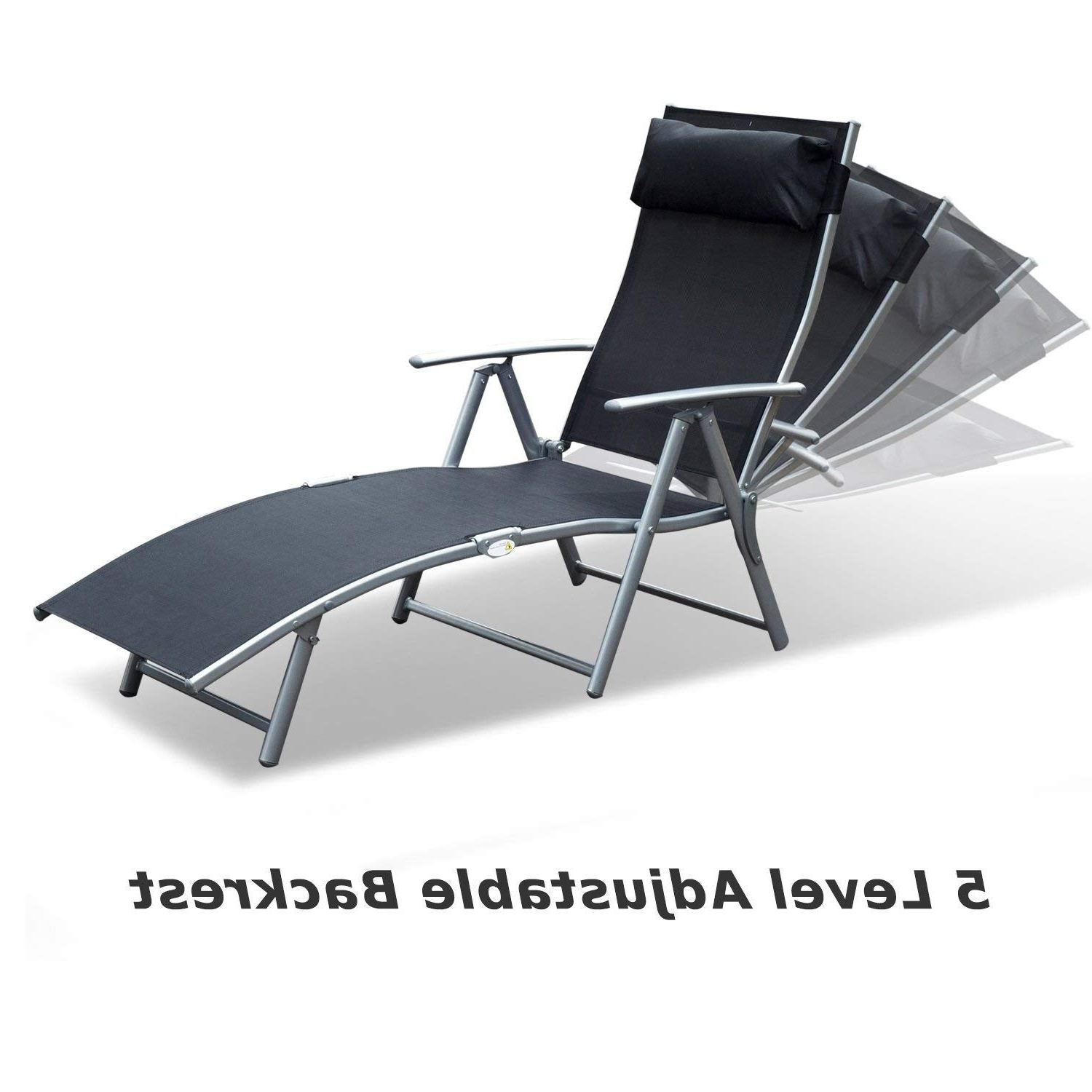 Steel Sling Fabric Outdoor Folding Chaise Lounges Within Best And Newest Outsunny Steel Sling Fabric Outdoor Folding Chaise Lounge Chair Recliner –  Black (View 23 of 25)