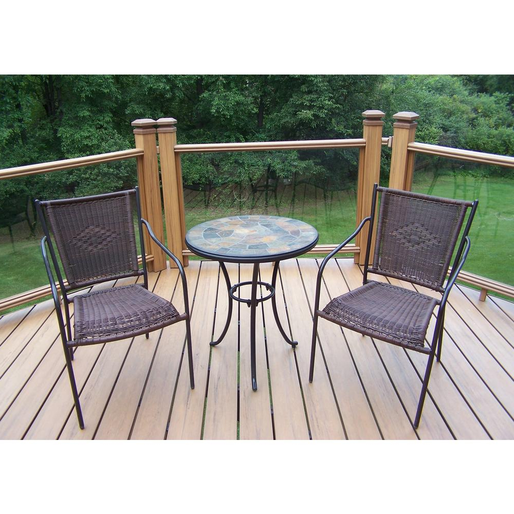 Stone Art Black Wicker 3 Piece Outdoor Bistro Set With Regard To Trendy 3 Piece Patio Lounger Sets (View 22 of 25)