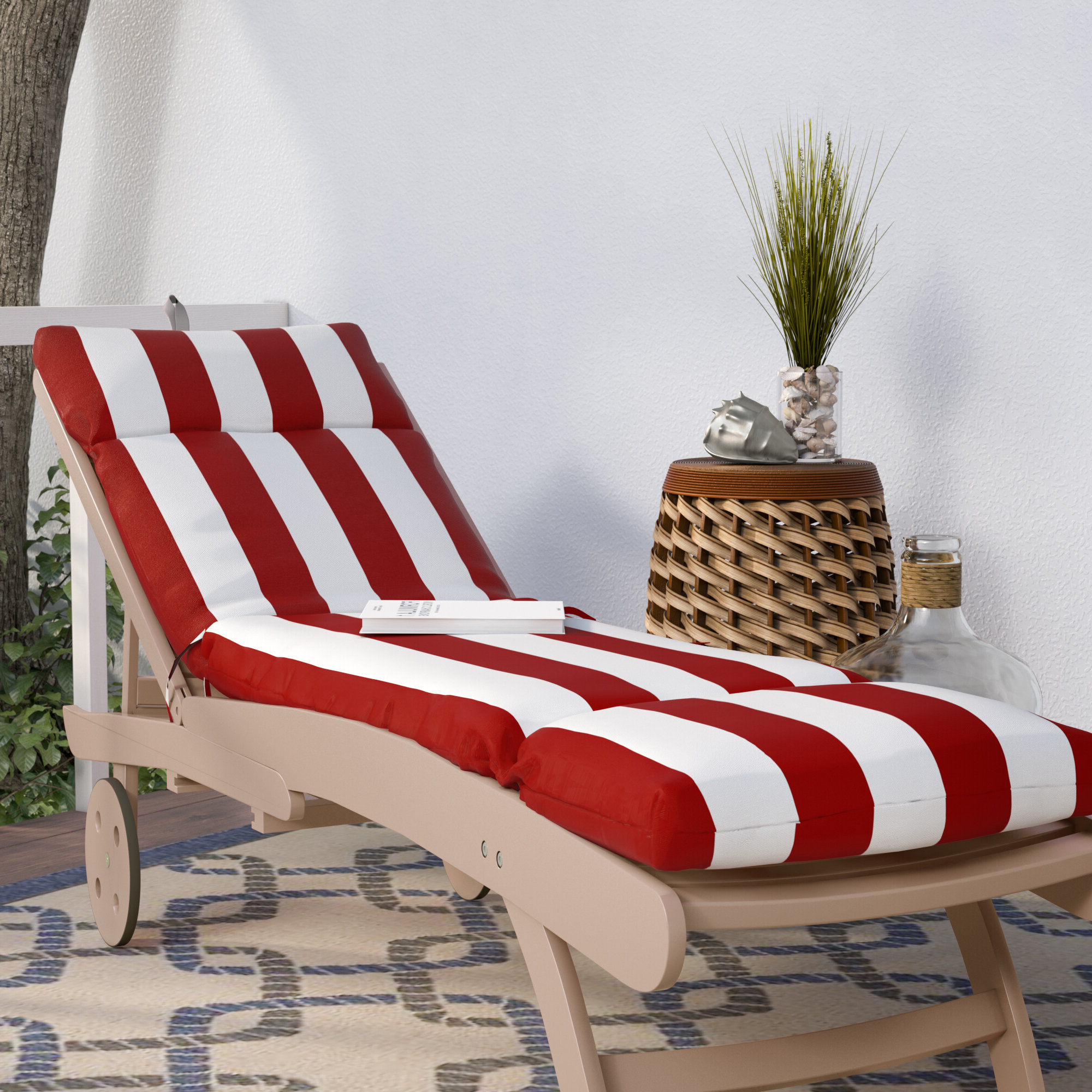 Striped Outdoor Chaises With Umbrella With Most Current Striped Indoor/outdoor Chaise Lounge Cushion (View 3 of 25)