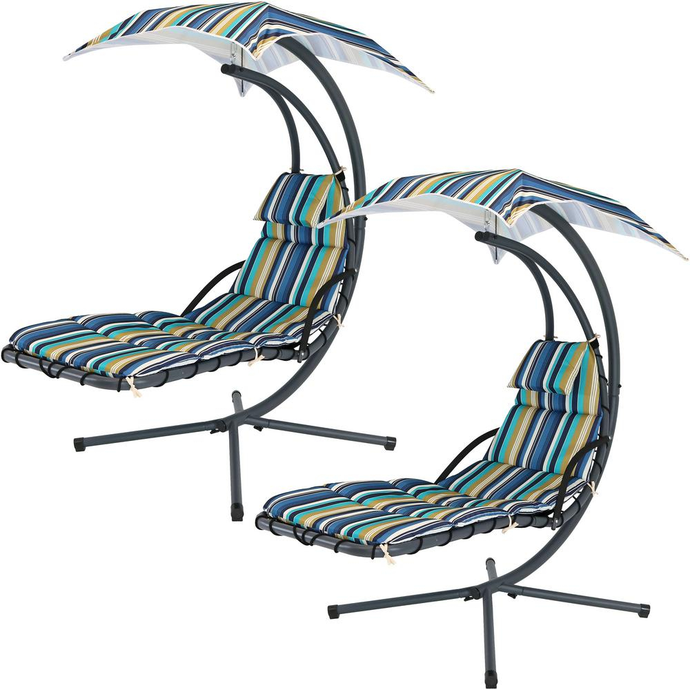 Sunnydaze Decor 2 Piece Steel Outdoor Floating Chaise Lounge With Canopy Umbrella And Lakeview Stripe Cushions Inside Trendy Striped Outdoor Chaises With Umbrella (View 18 of 25)