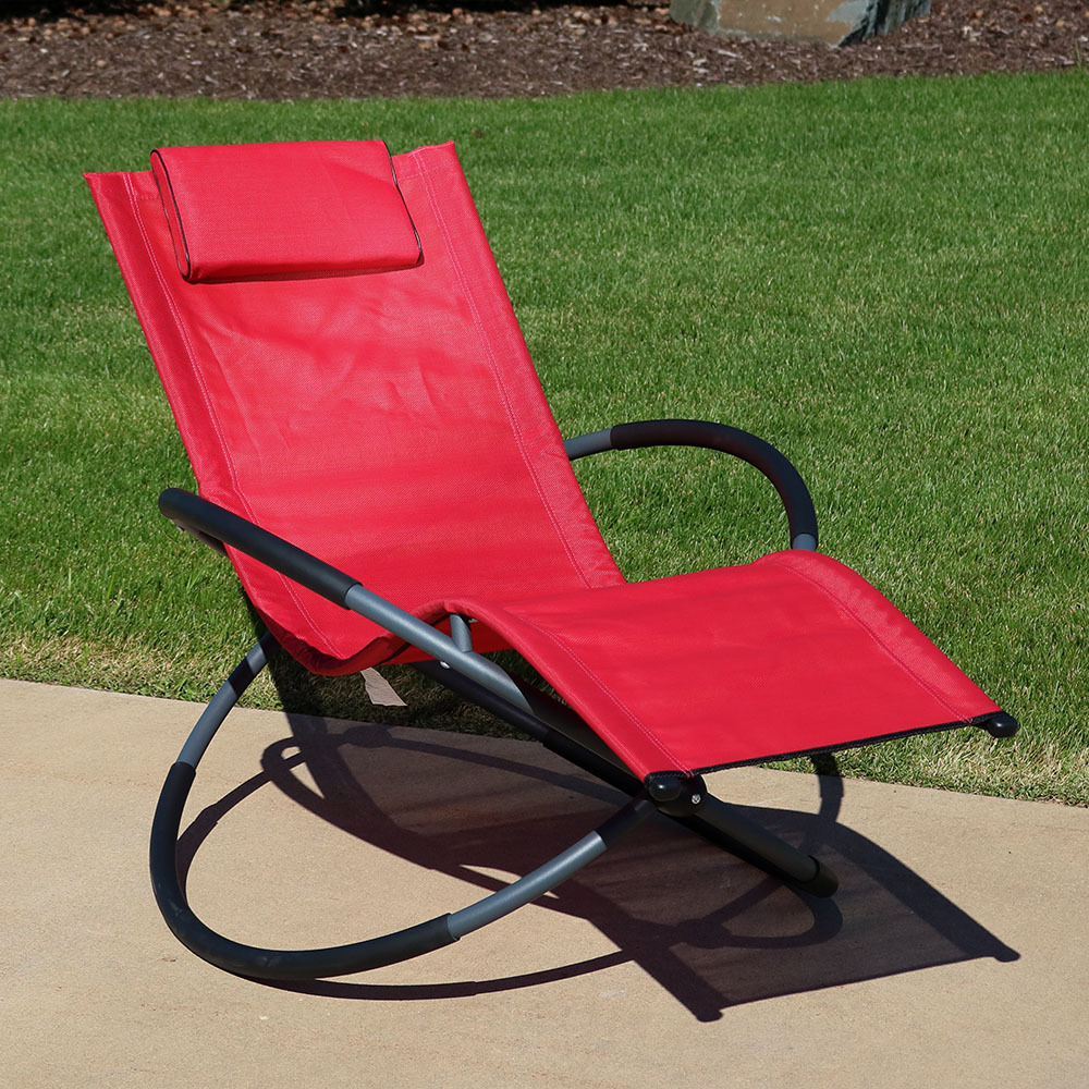 Sunnydaze Orbital Outdoor Folding Zero Gravity Rocking Lounger W/ Pillow,  Red Regarding Well Liked Outdoor Rocking Loungers (View 21 of 25)