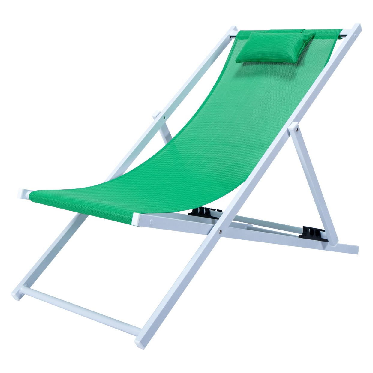 Sunset Sling Beach Chair With Headrest In Green Pertaining To Most Up To Date Sunset Patio Sling Folding Chairs With Headrest (View 8 of 25)