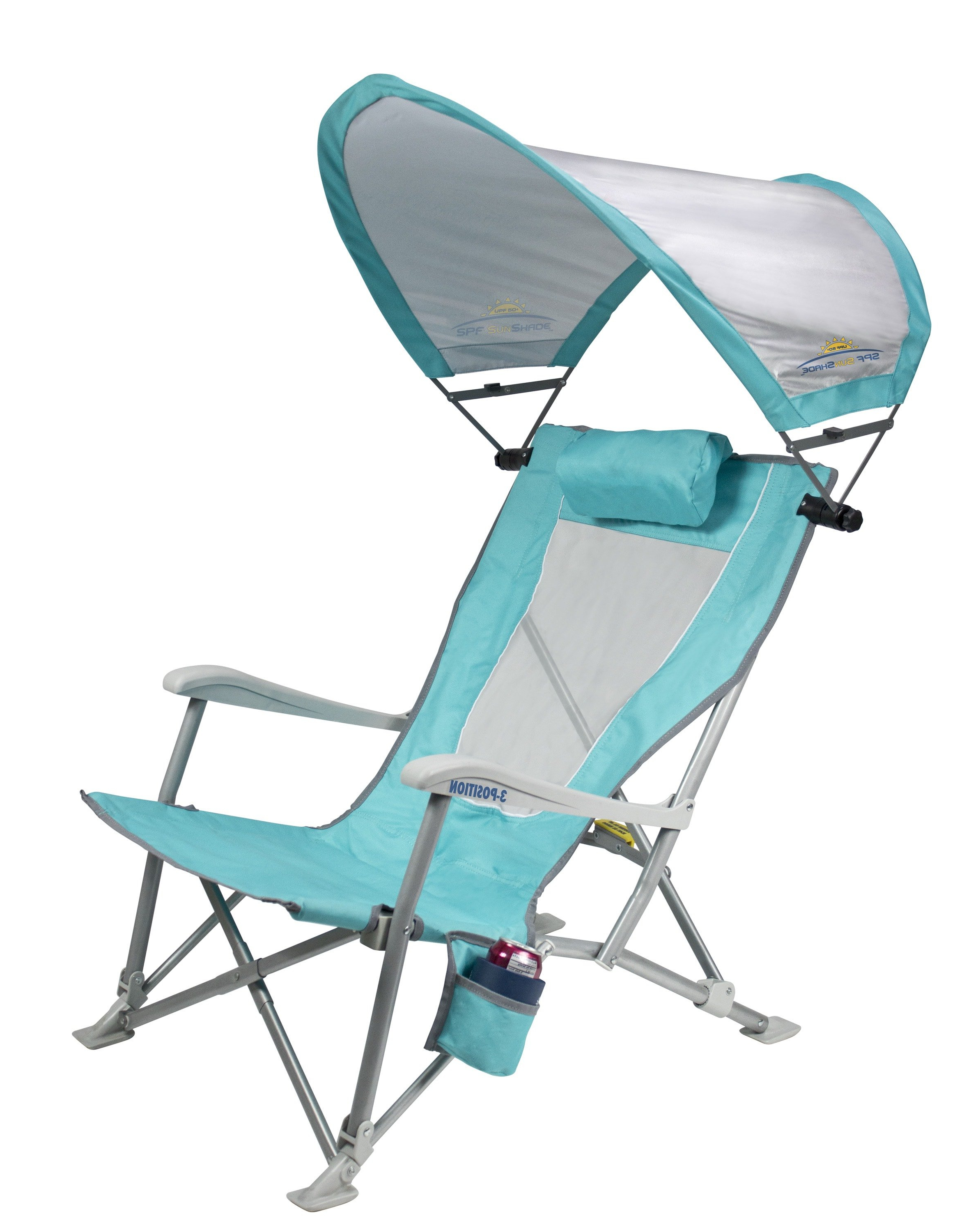Sunshade Recliner™ Within 2020 3 Position Portable Folding Reclining Beach Chaise Lounges (View 25 of 25)