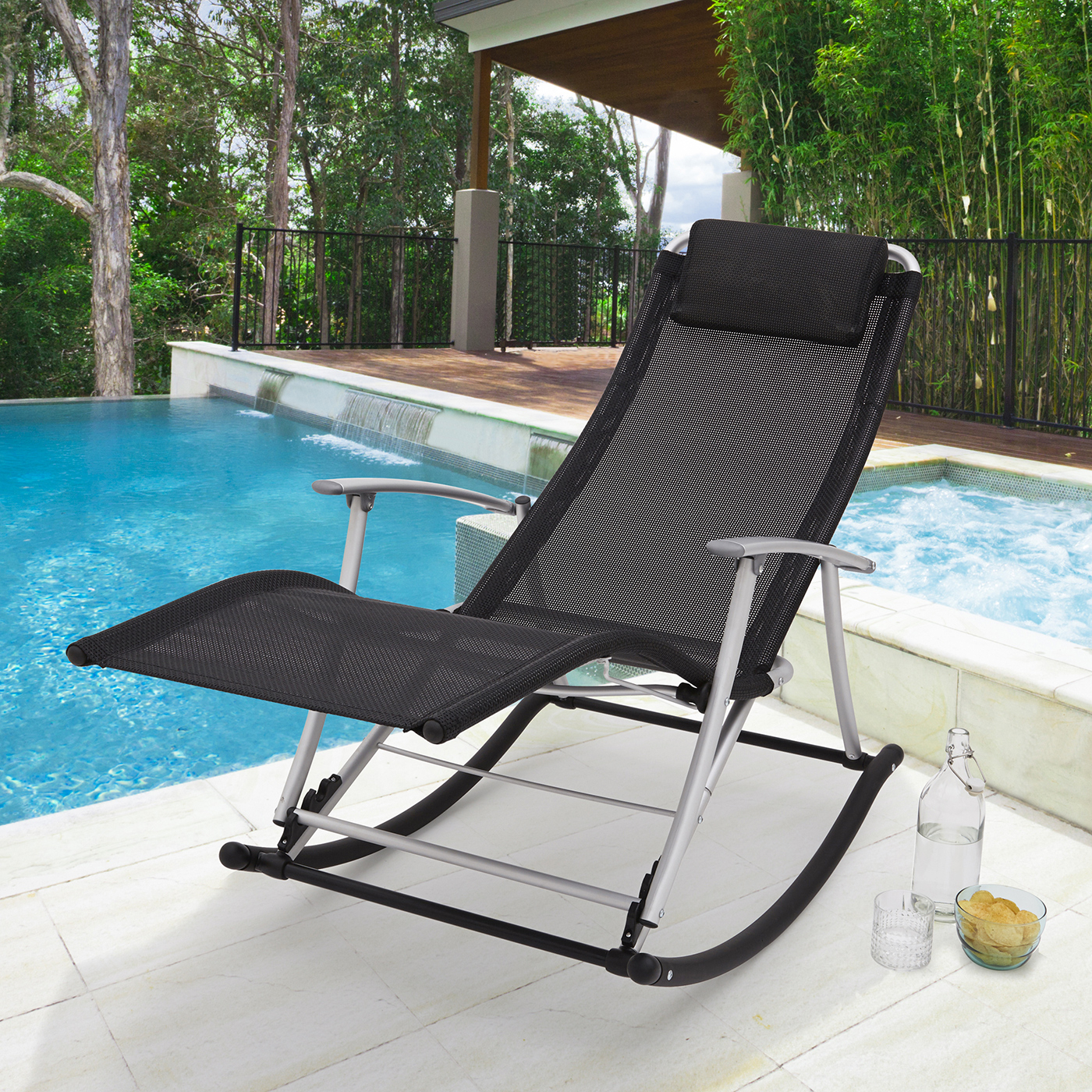 Toblino Leisure Lounger Light Alu Frame Black Weatherproof Fabric In Recent Outdoor Rocking Loungers (View 23 of 25)