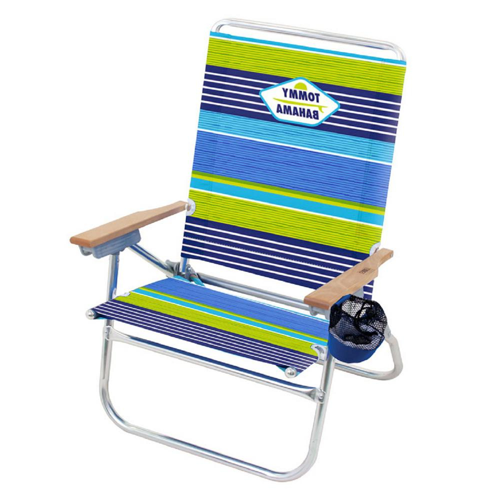 Trendy 3 Position Portable Reclining Beach Chaise Lounges Throughout Tommy Bahama Striped Easy In And Out Aluminum And Fabric Reclining 4 Position Beach Chair (View 24 of 25)