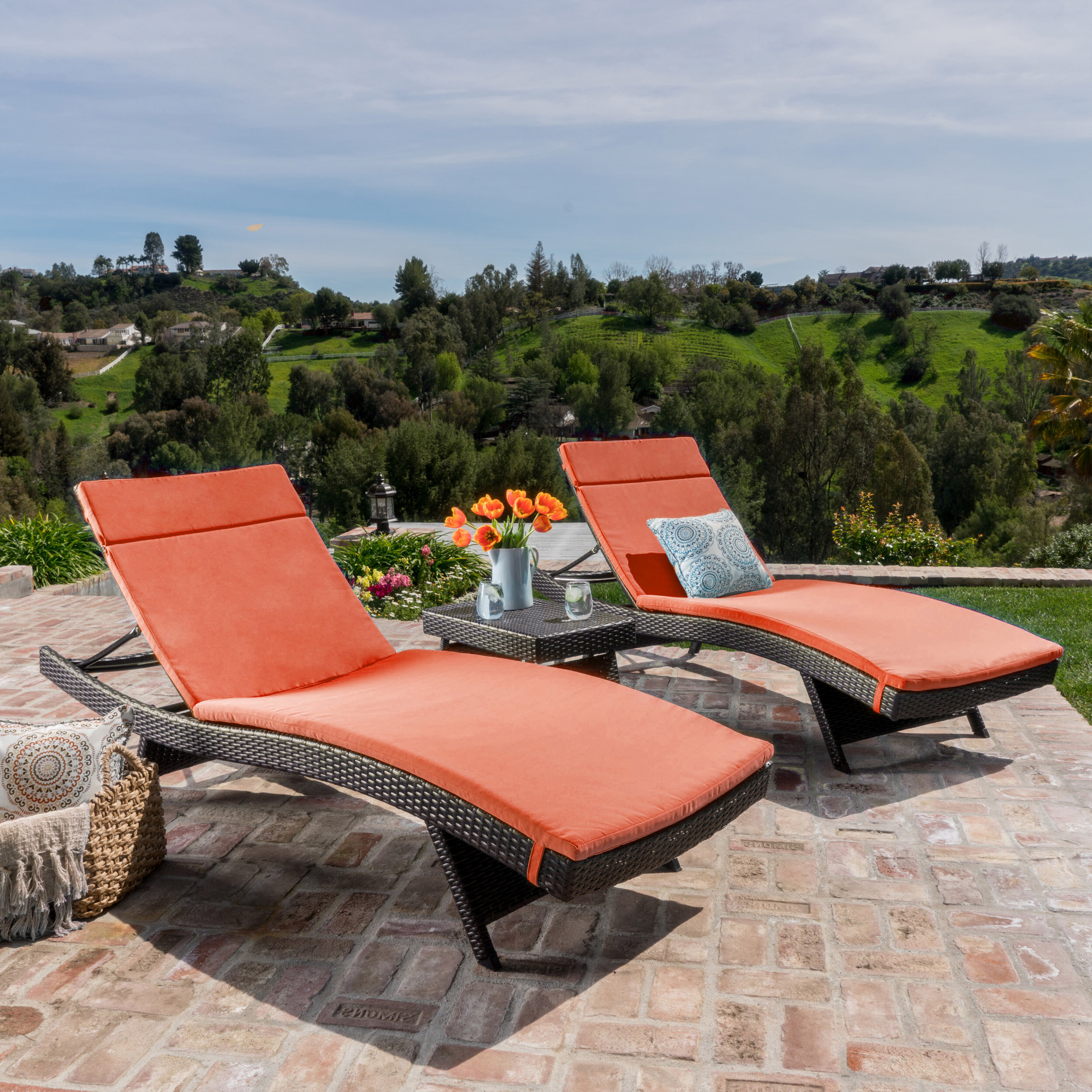 Trendy Bradenton Outdoor Wicker Chaise Lounges With Cushions With Hans Cagliari Wicker Chaise Lounge Set With Cushion (View 17 of 25)
