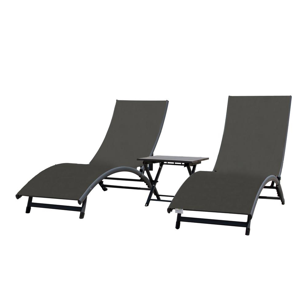 Trendy Cape Coral Outdoor Aluminum Chaise Lounges With Regard To Vivere Coral Springs Grey 3 Piece Aluminum Outdoor Chaise Lounge (View 17 of 25)